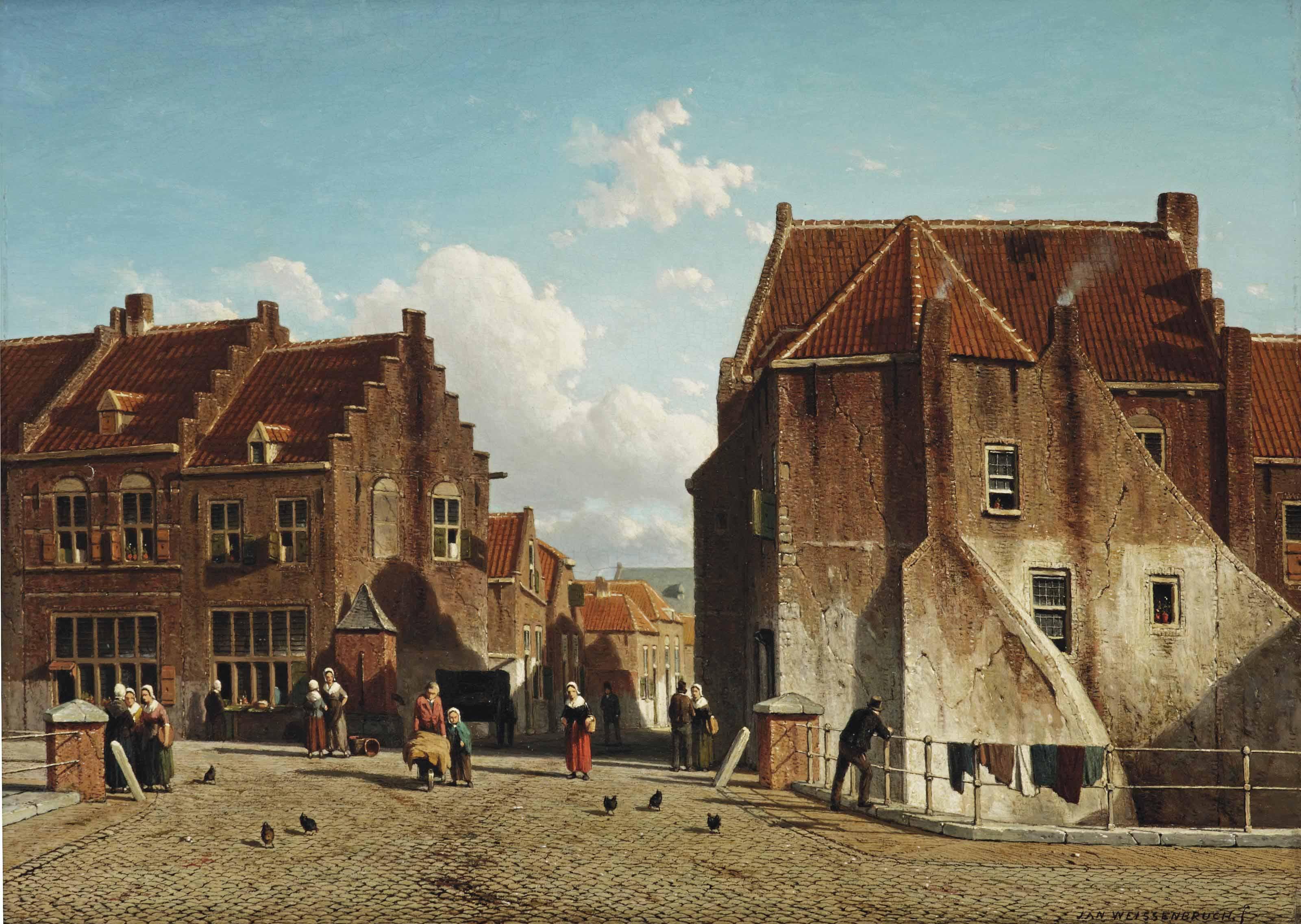 Kuilenburg: a market place with figures, Culemborg