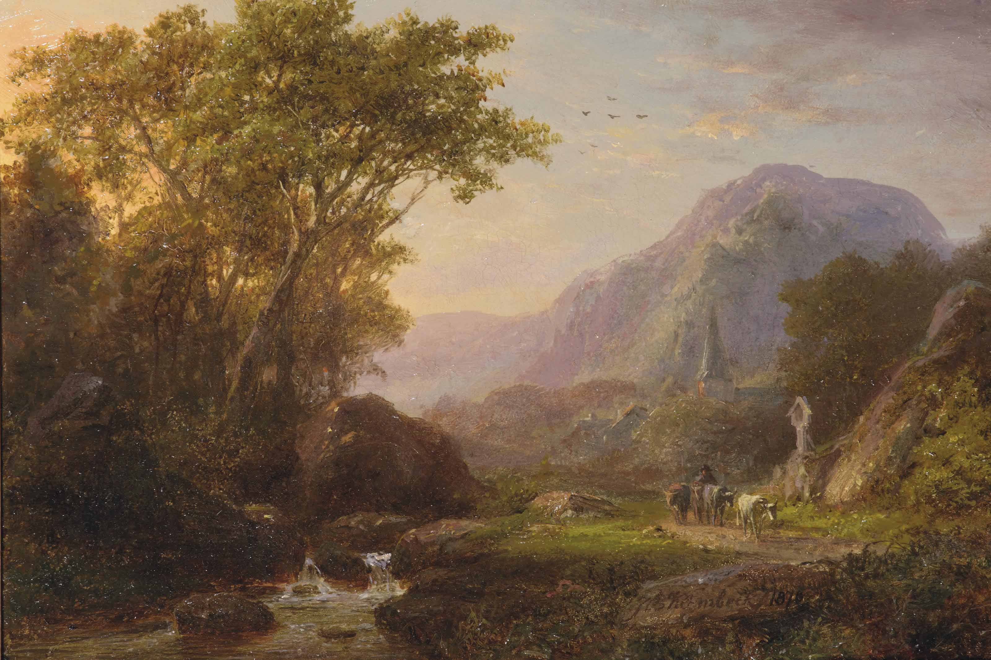 A mountainous summer landscape with cattle and a church beyond