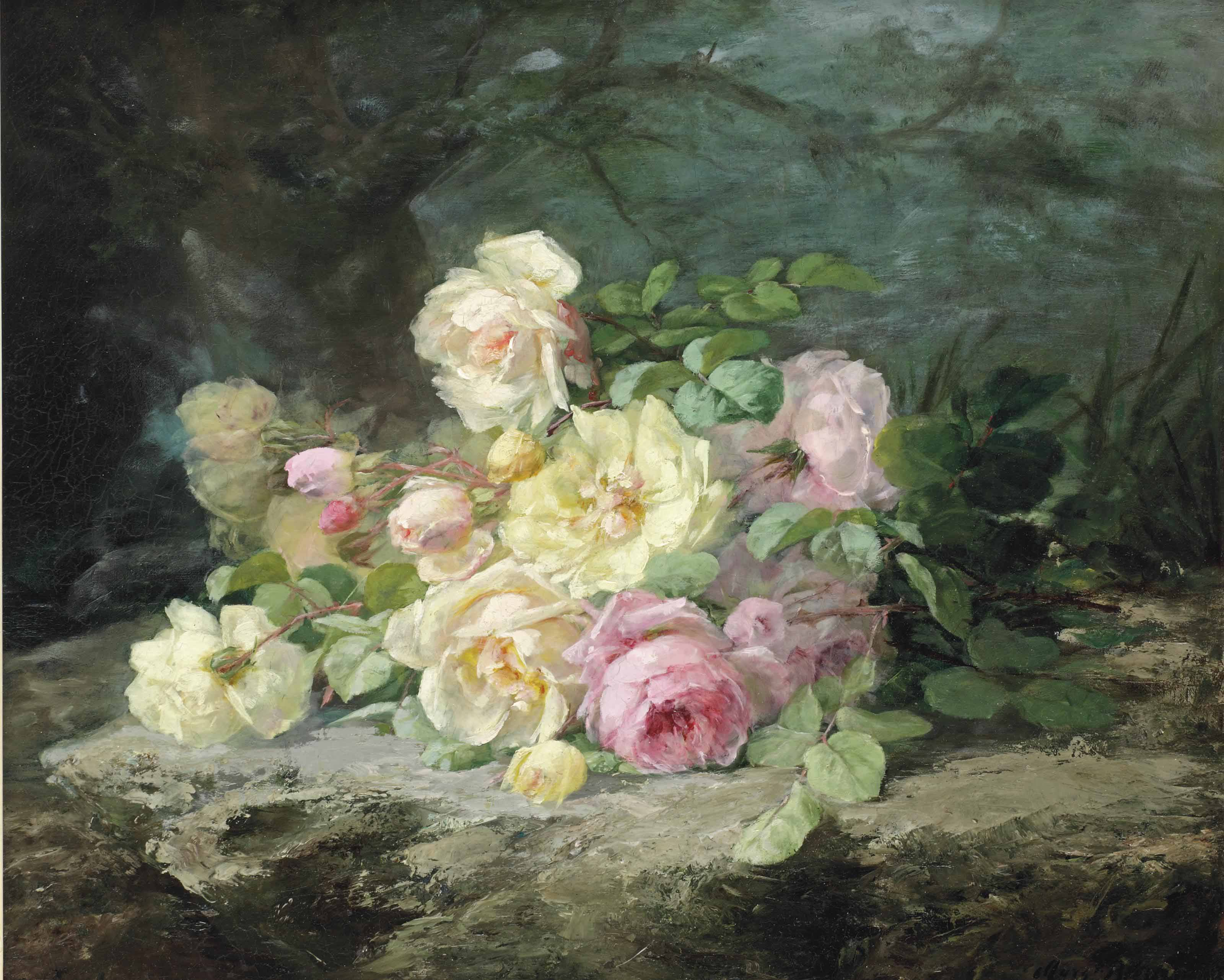 White and pink roses on a forest floor