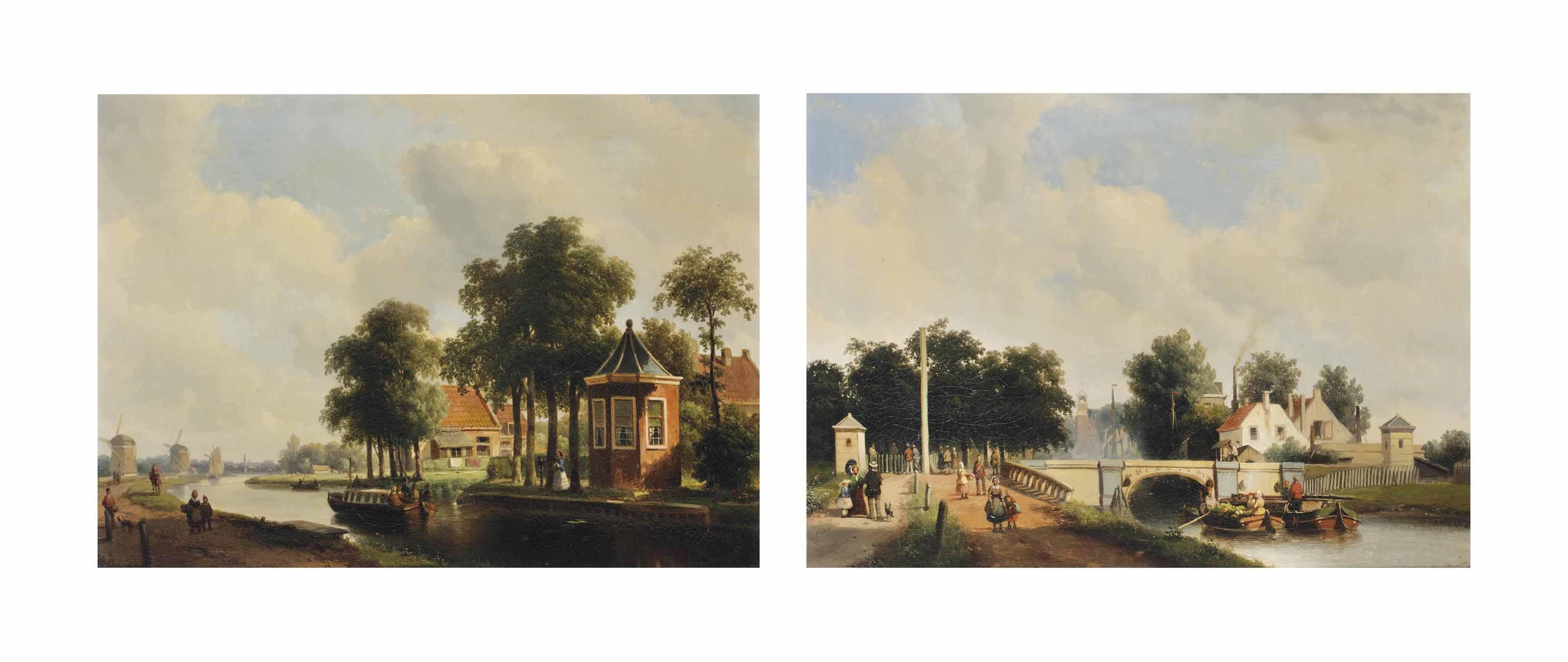 A summer's day on the Trekvliet seen from Haagzigt, Voorburg; and The Trekweg along the Trekvliet with the old railway bridge, The Hague