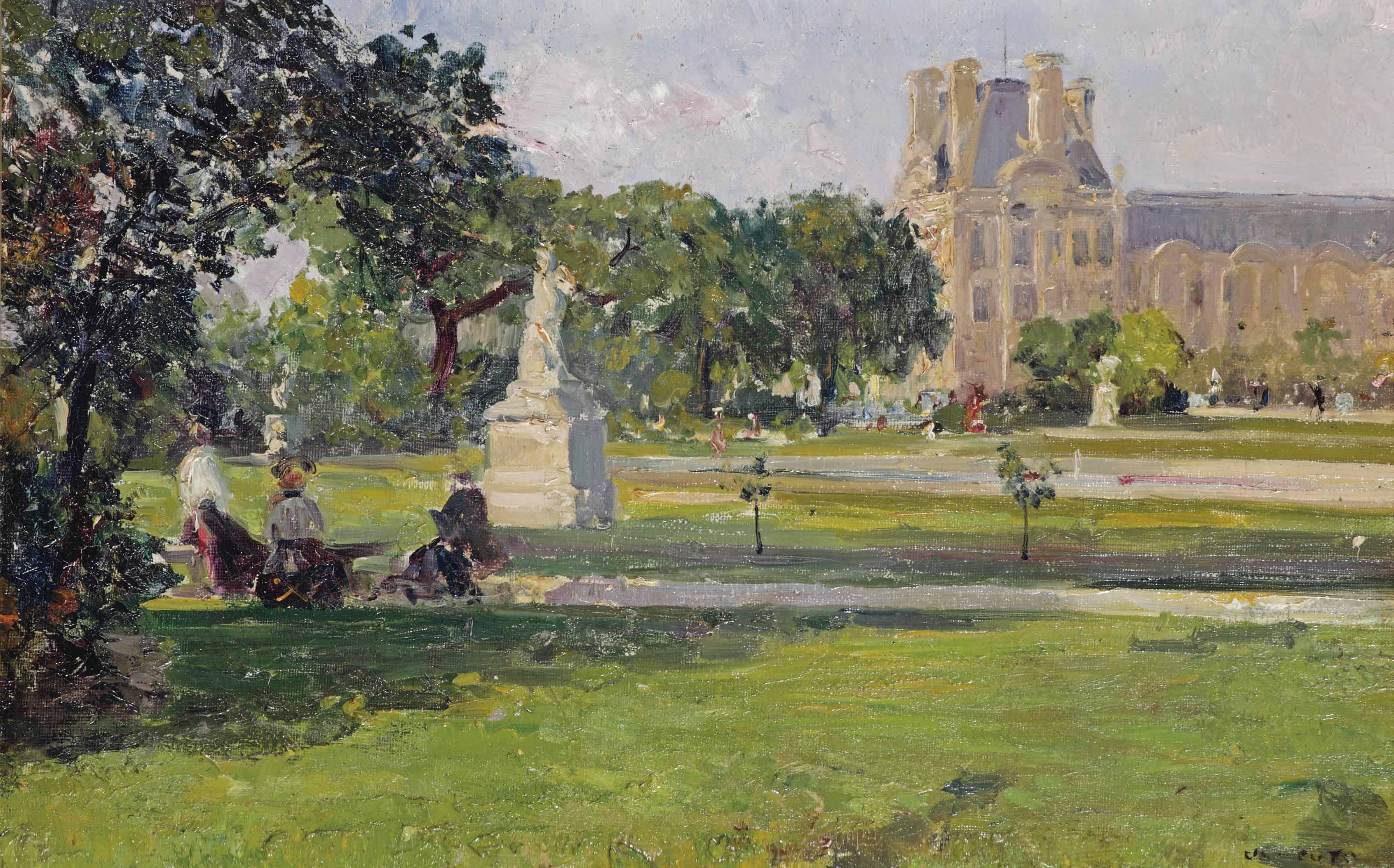 A quiet afternoon in the Tuileries gardens, with a view of the Louvre, Paris