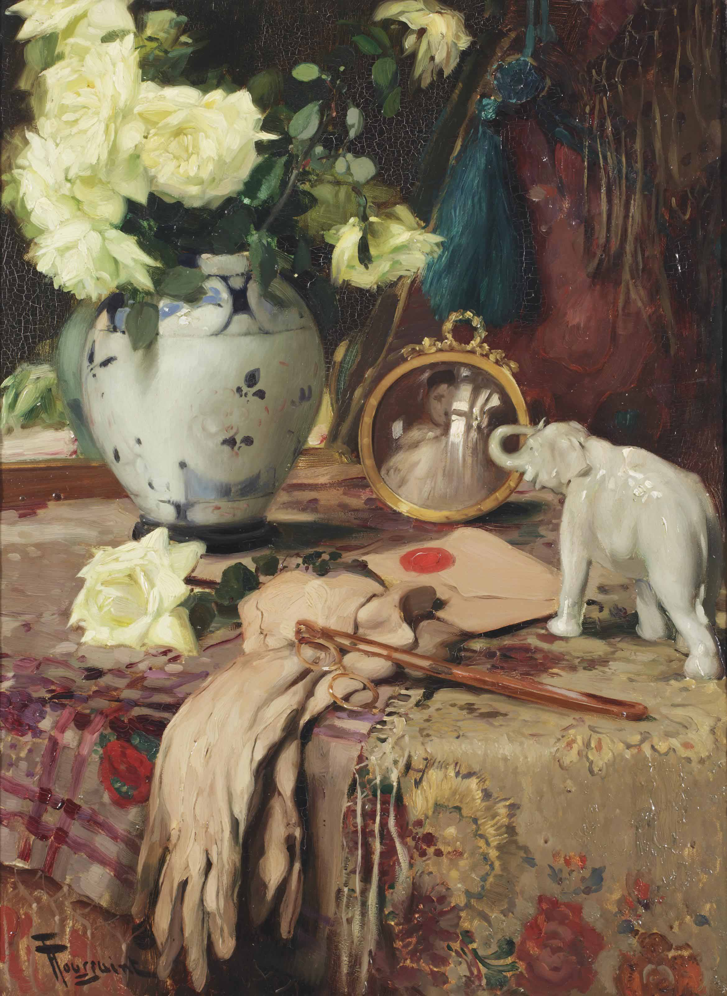 A still life with white roses in a vase