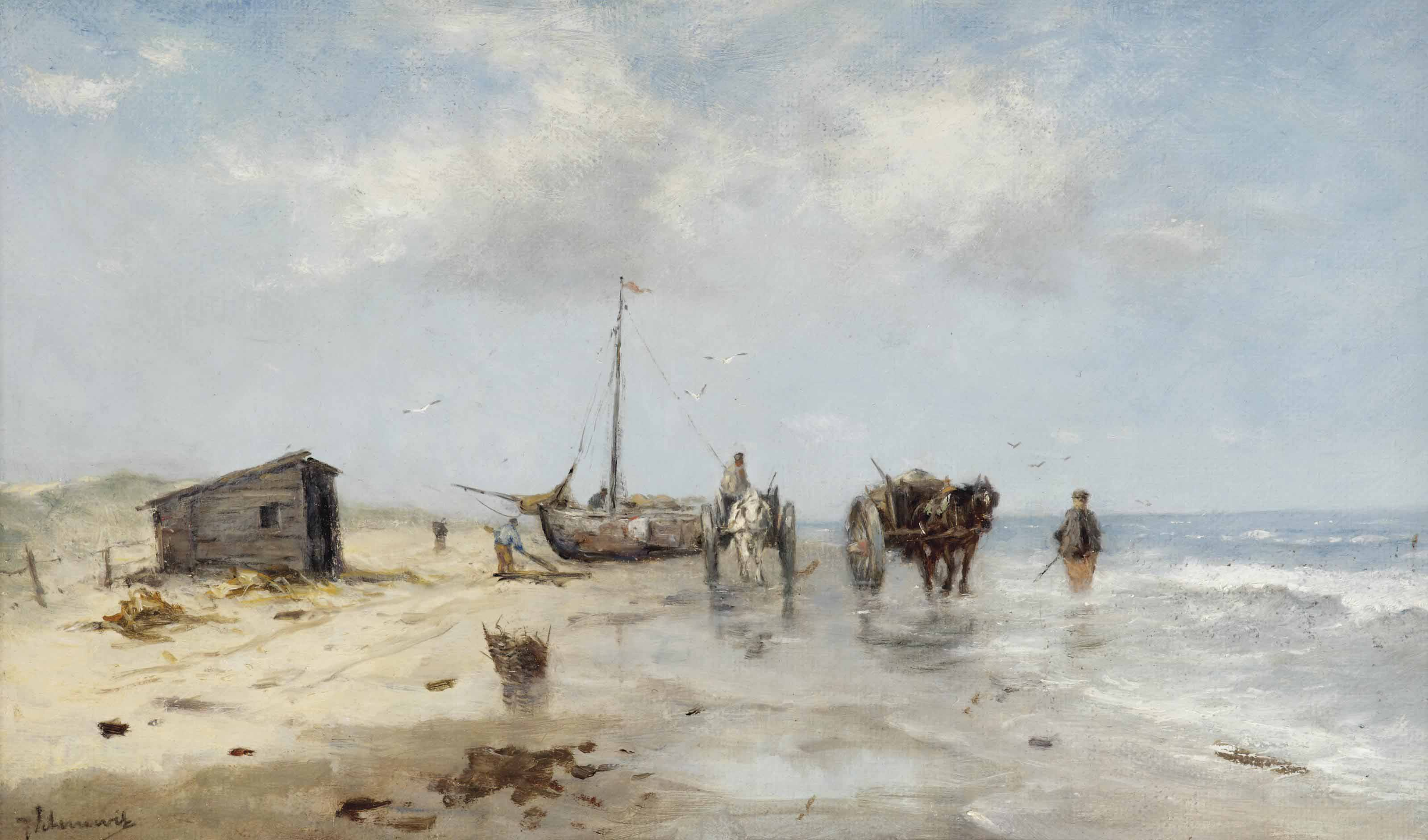 Schellfishers on the beach