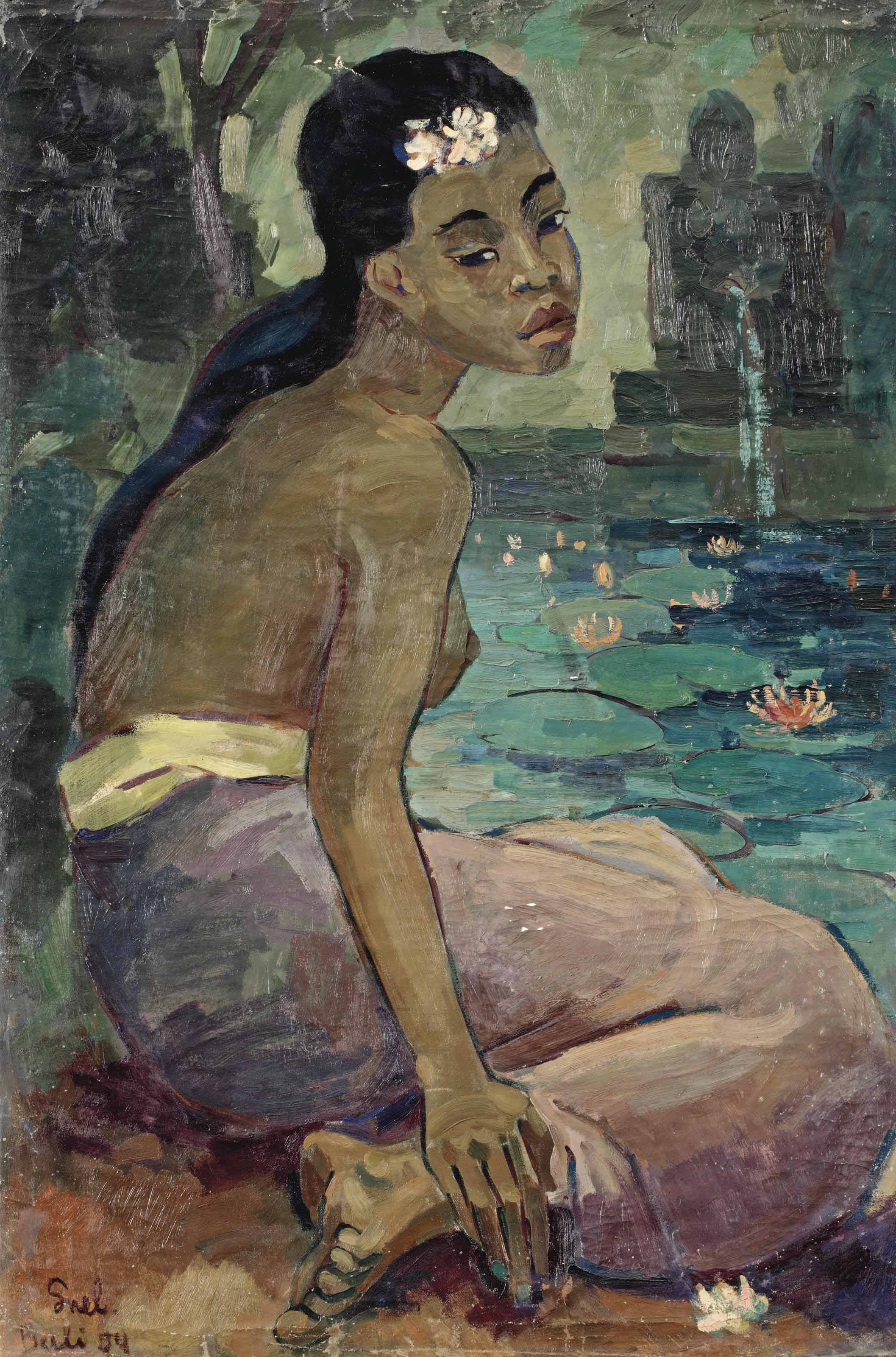 A seated Balinese woman