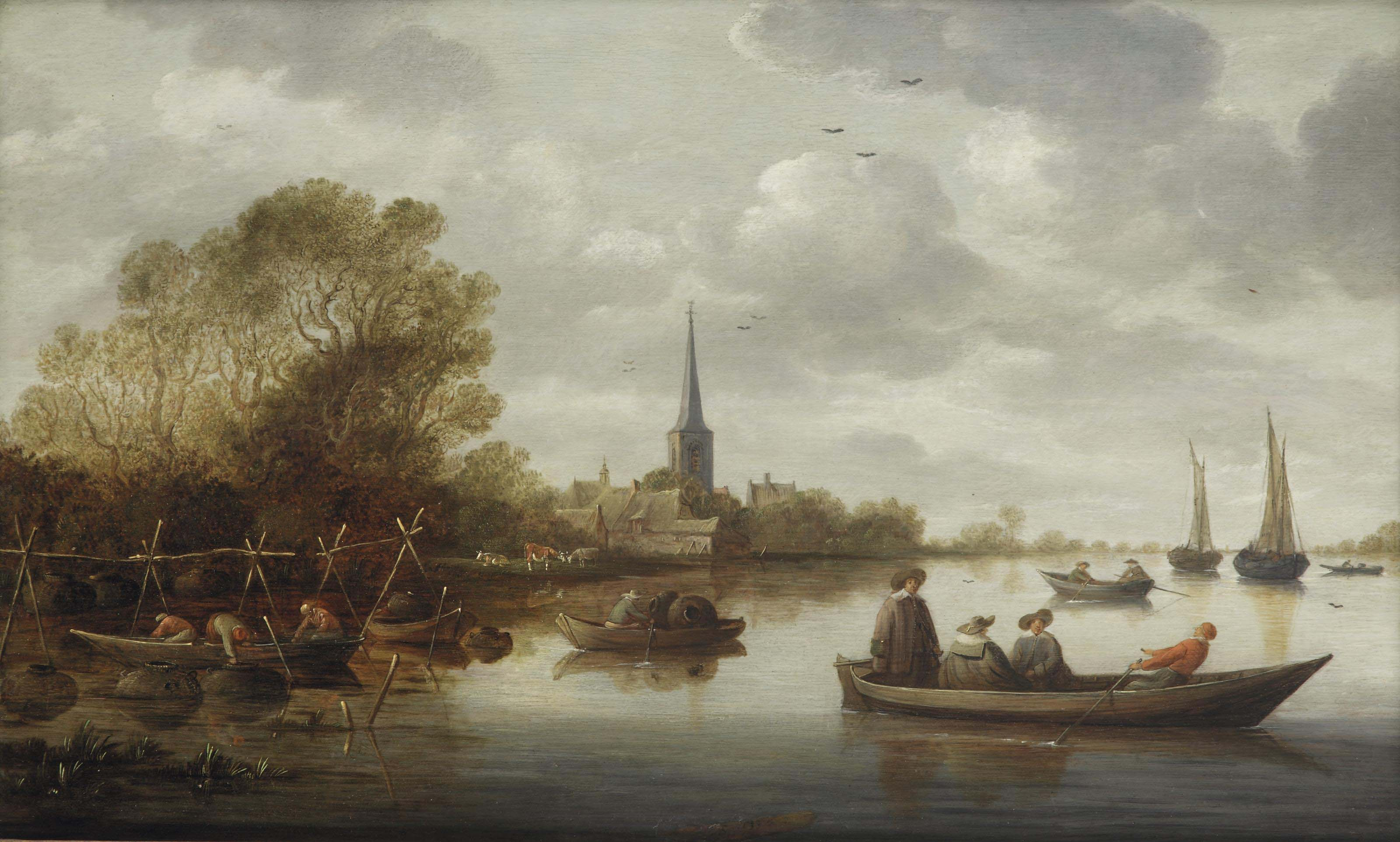 A river landscape with fishermen, elegant figures in a ferry, a village and sailing vessels in the distance