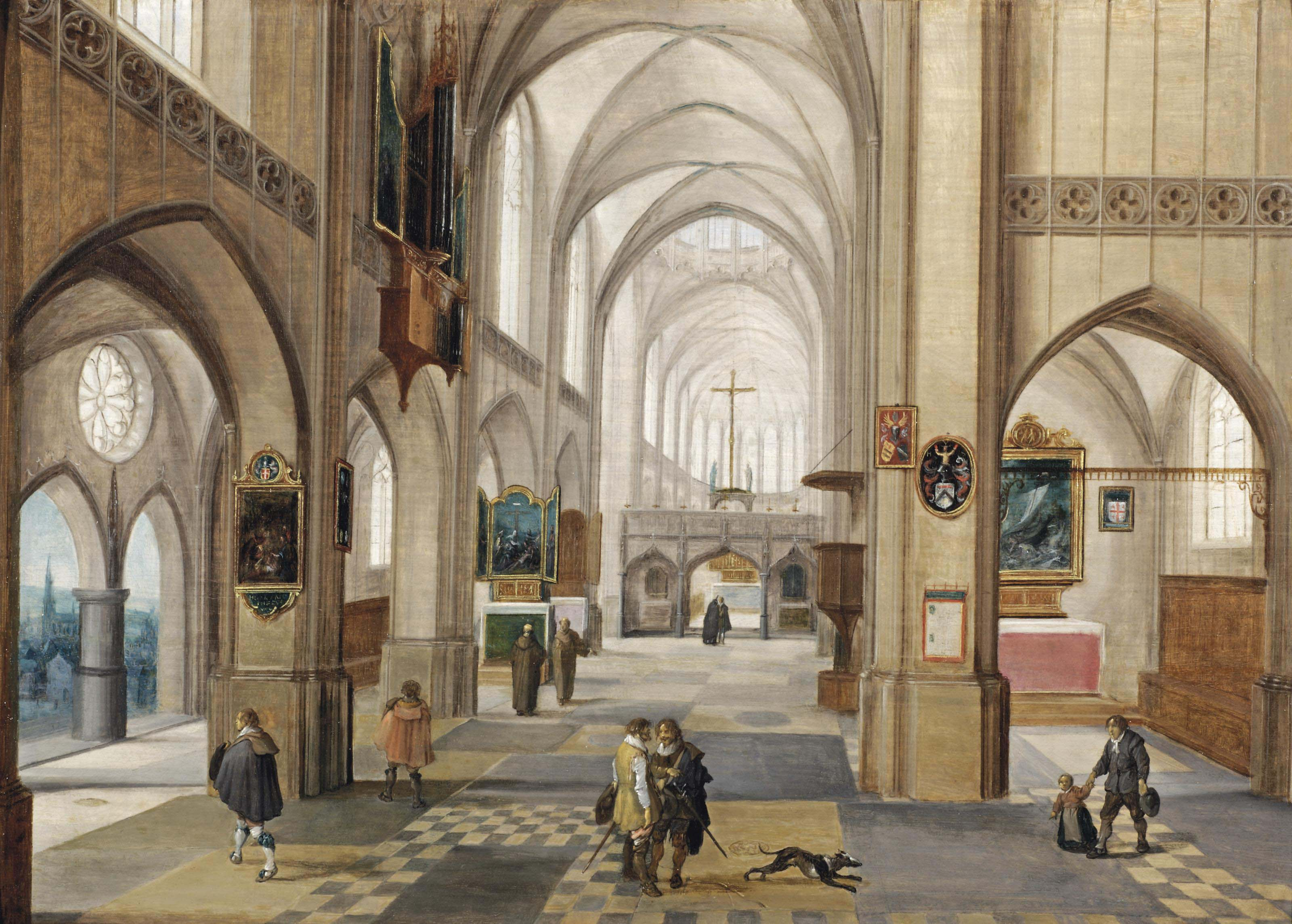 The interior of a Gothic church with gentlemen conversing
