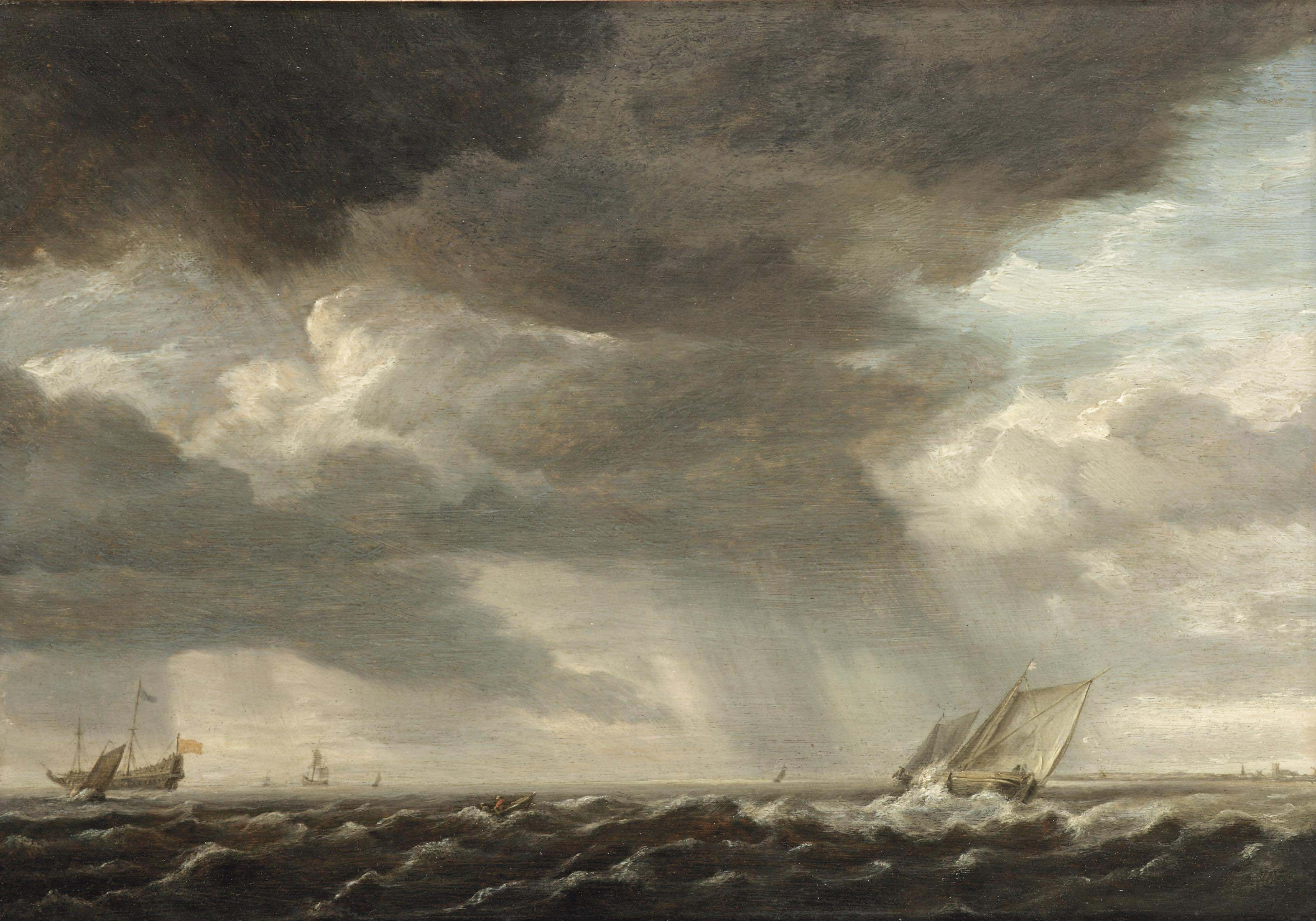 A two-master and smaller sailing vessels in rough waters