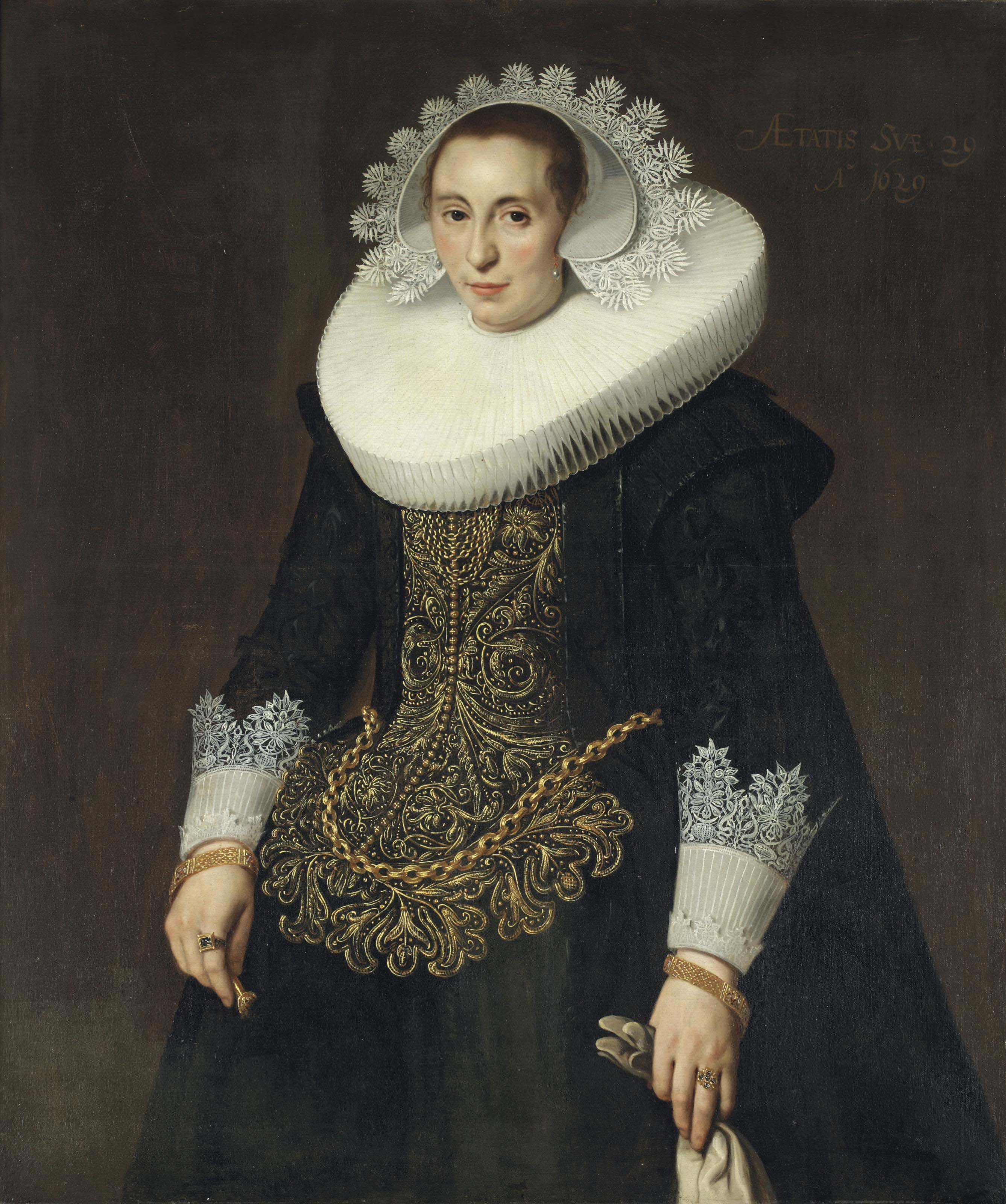 Portrait of a lady, three-quarter-length, in a golden embroidered dress with a white lace collar and a white lace cap, with two golden bracelets and rings