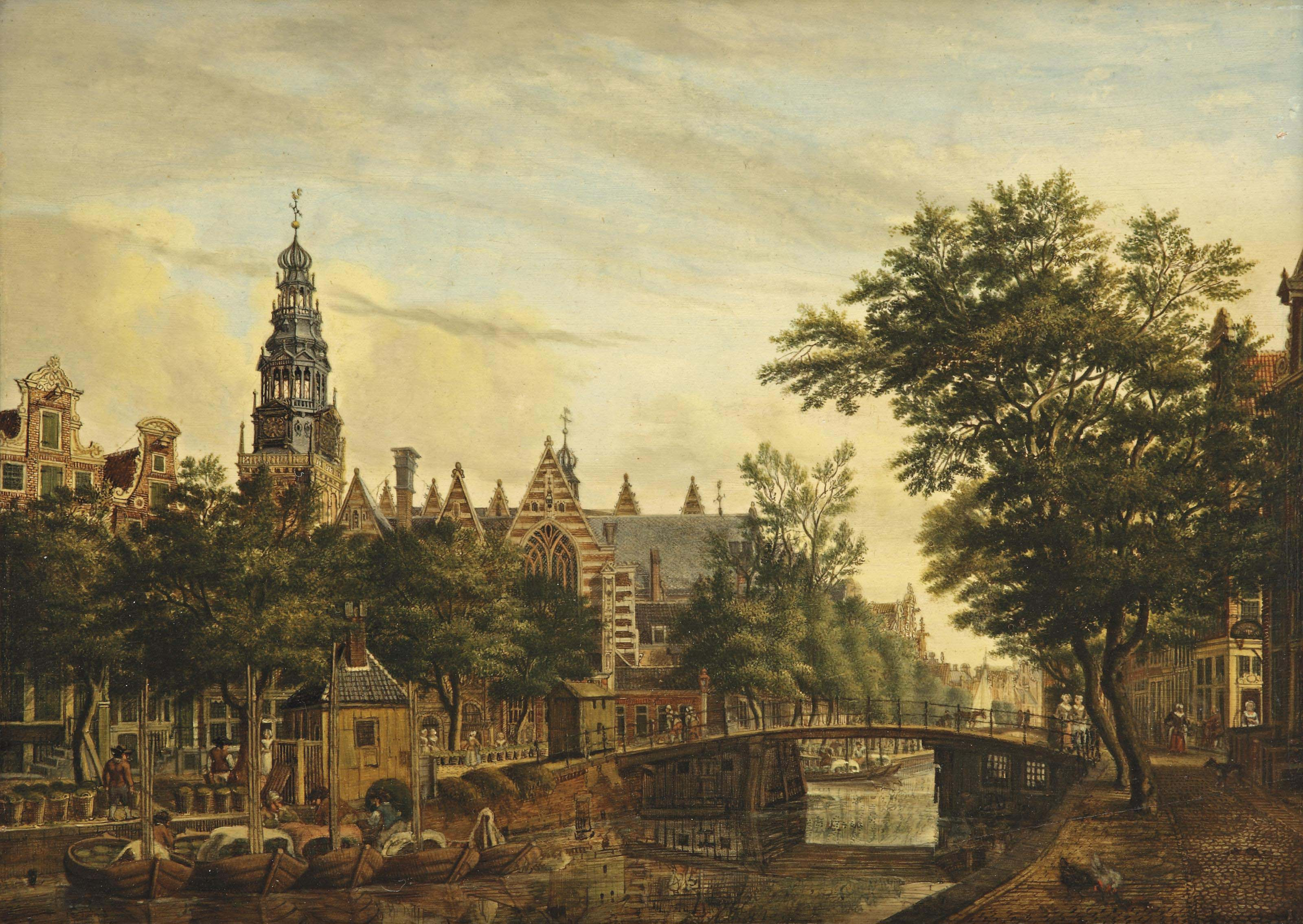 A view of the Oude Kerk from the Oudezijds Voorburgwal, Amsterdam