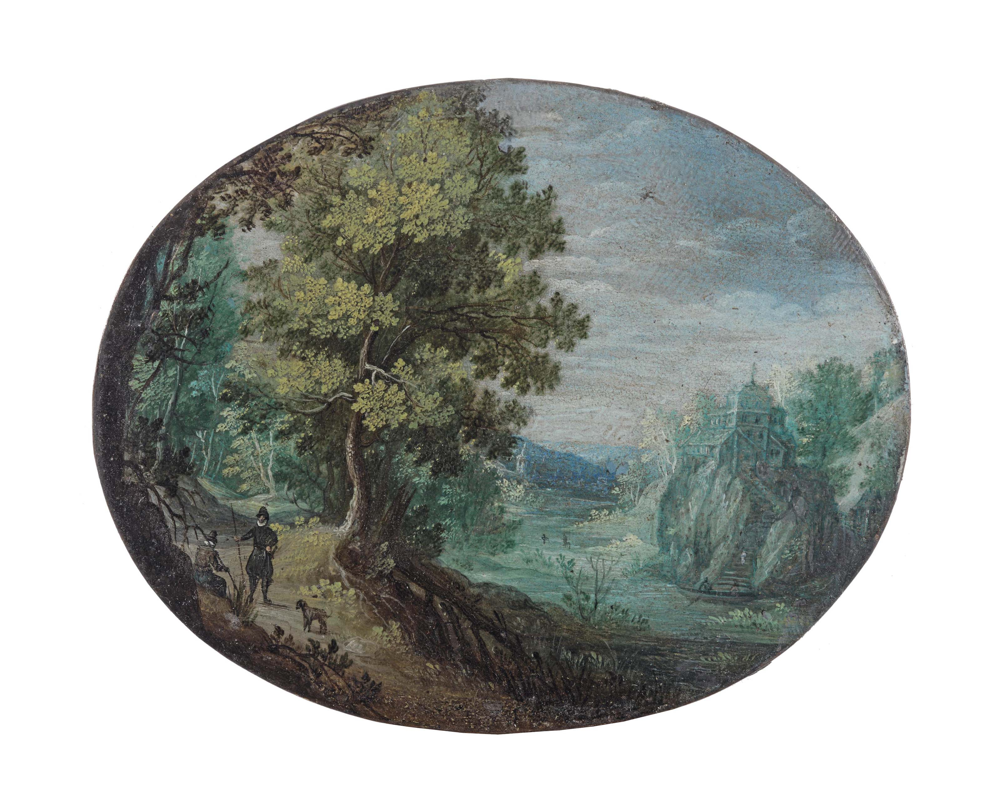A wooded, hilly river landscape with two travellers and a dog resting on a path