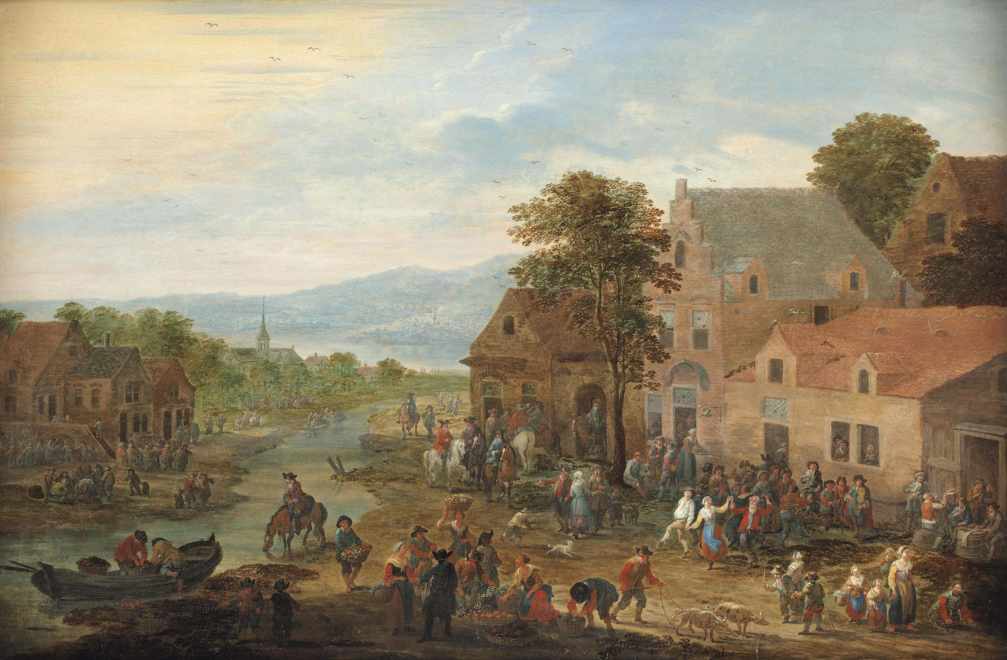 A townscape with fruit vendors, horsemen and villagers making merry
