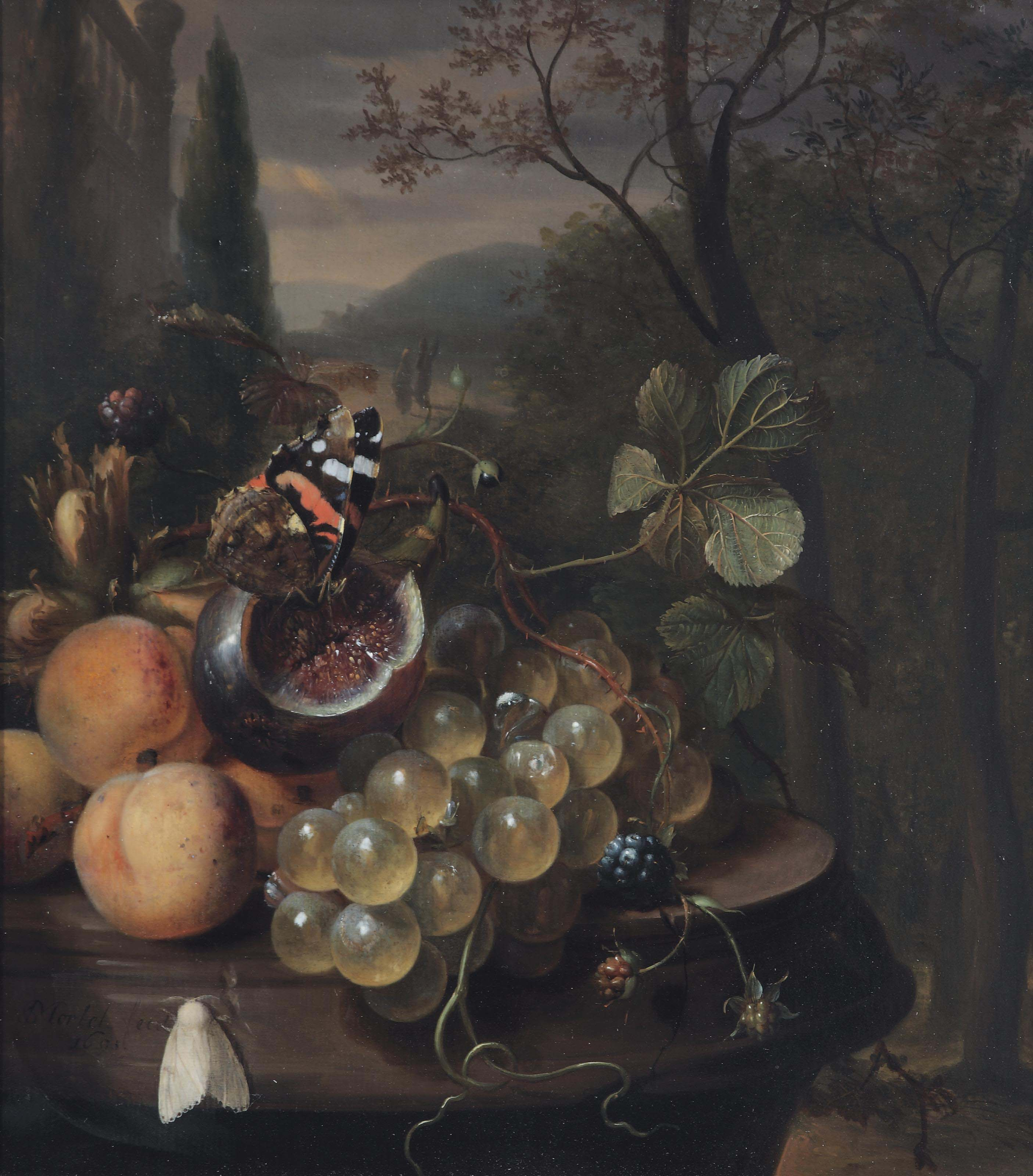 Apricots, grapes, a fig with a butterfly, blackberries and a white moth on a marble ledge in an Italianate landscape