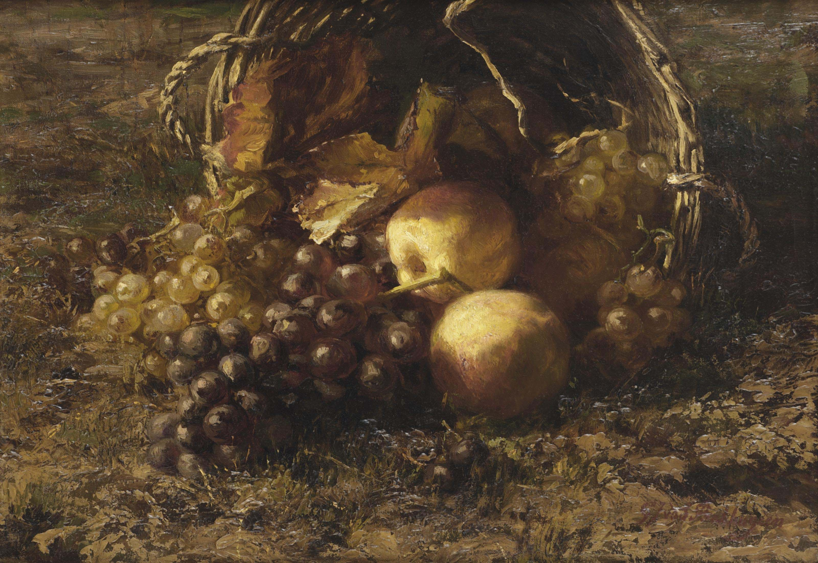 A wicker basket with grapes and apples on a forest floor