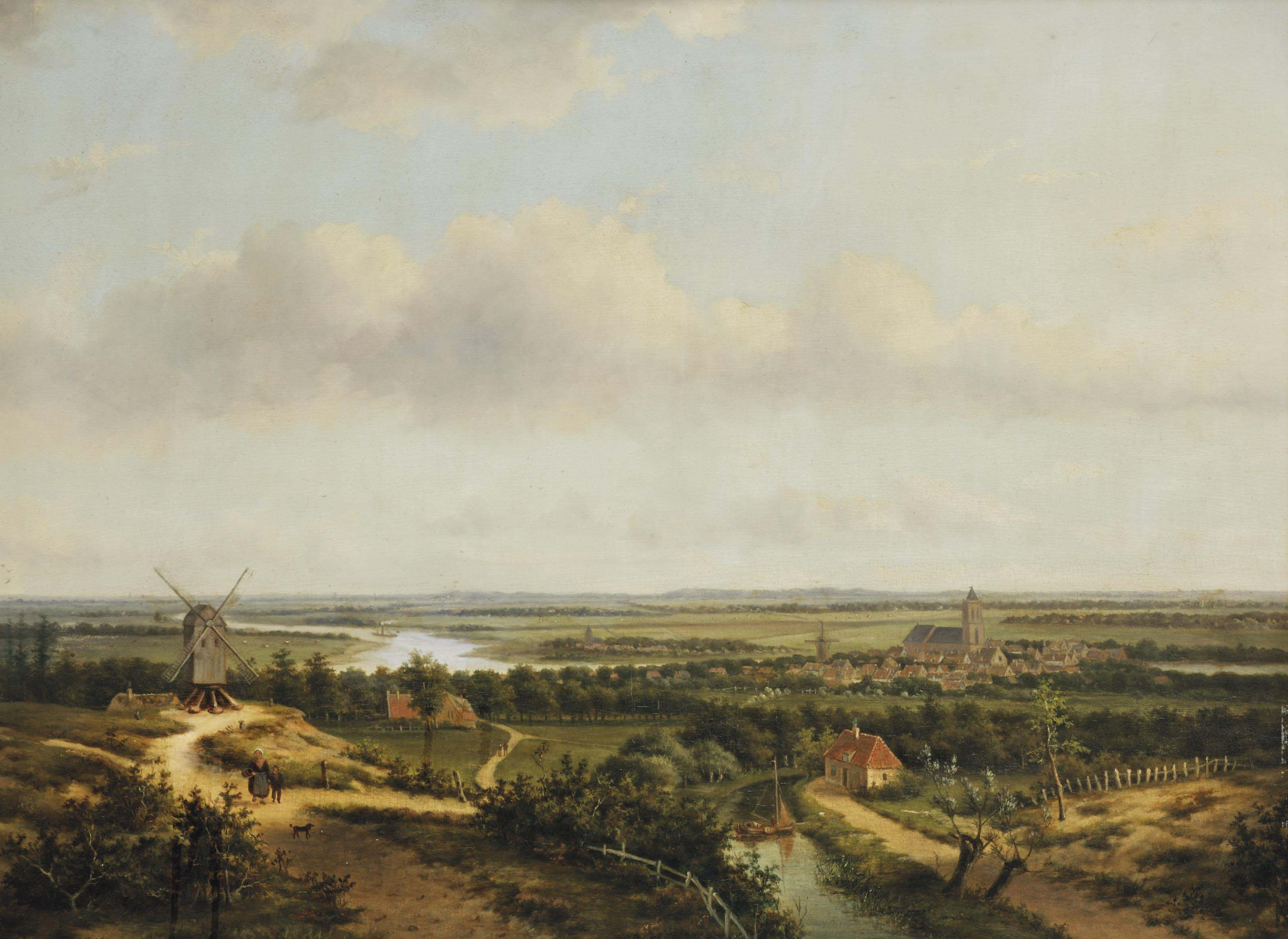 A panoramic river landscape with a windmill and figures