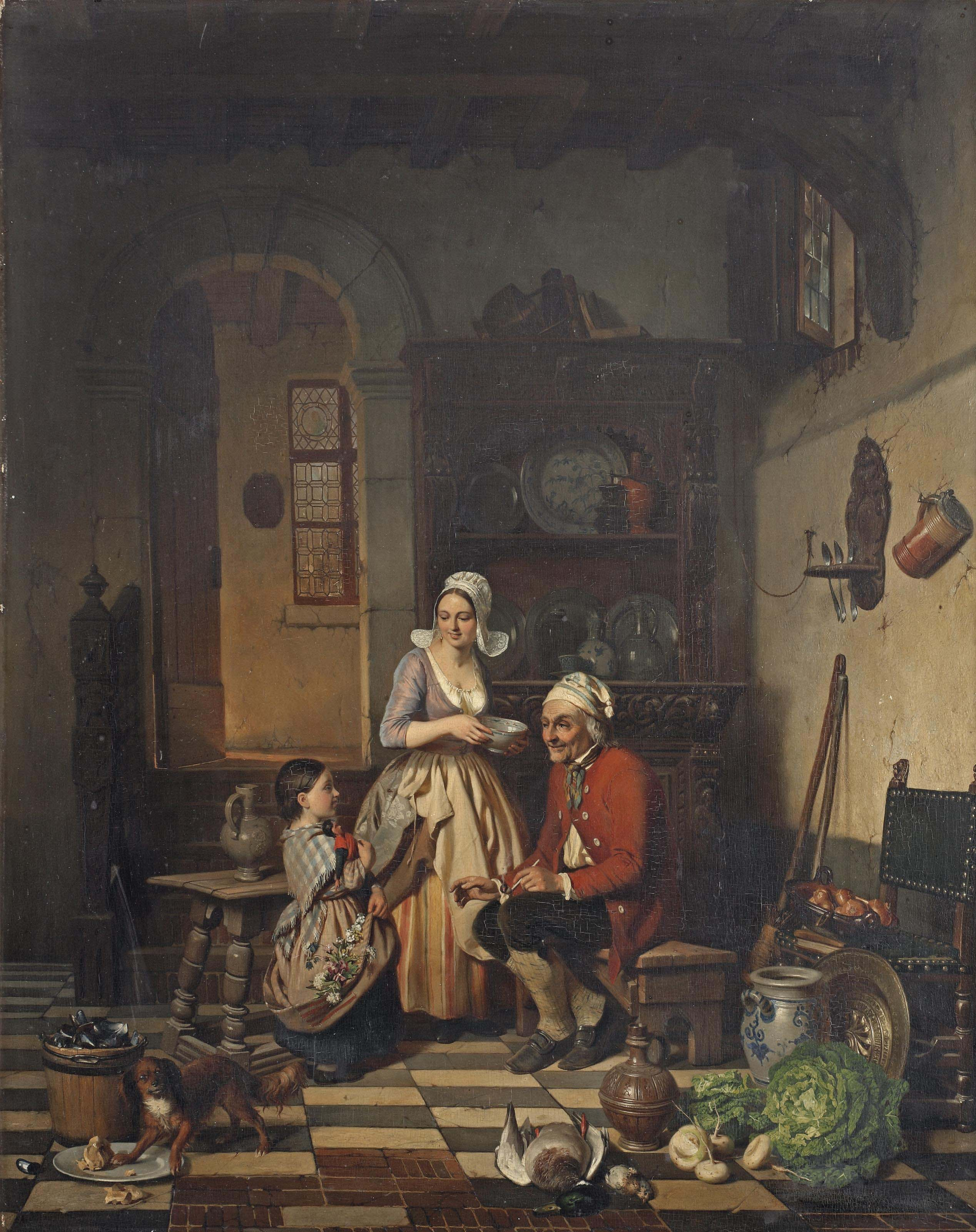A kitchen interior with fruits of the garden