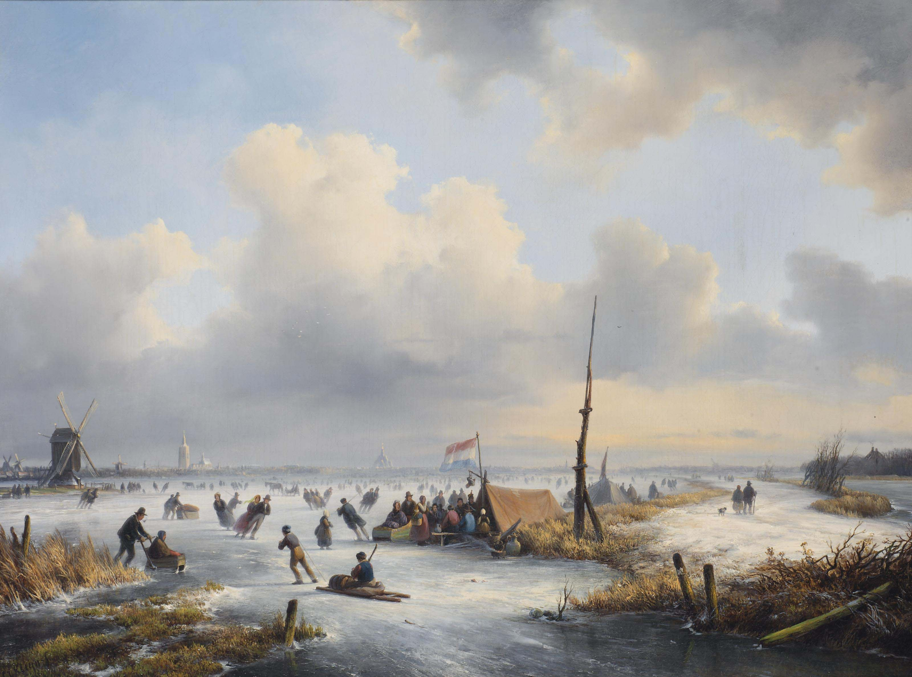 A winter landscape with figures skating near a koek-and-zopie
