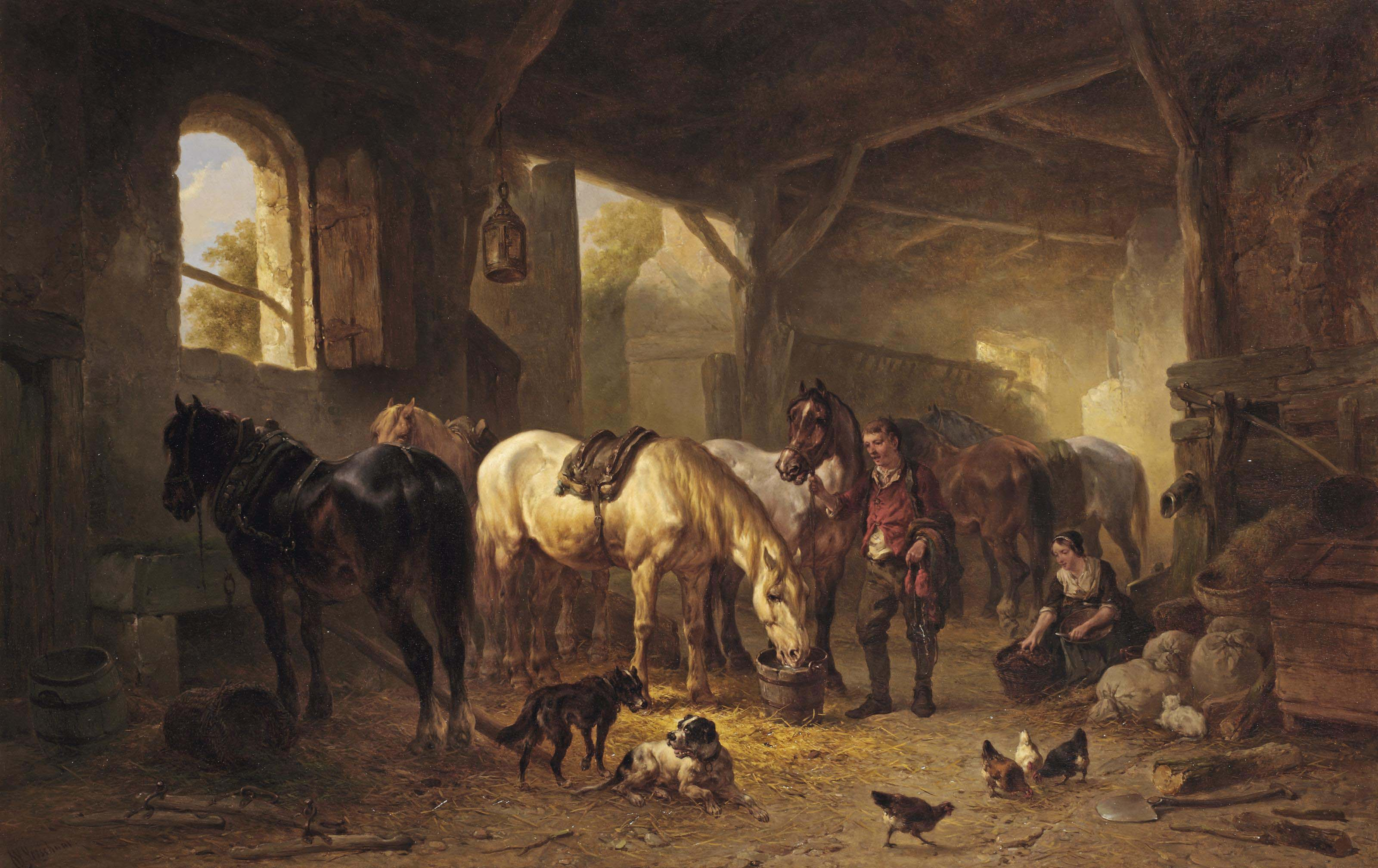 A sunlit stable interior with a stable boy and his horses