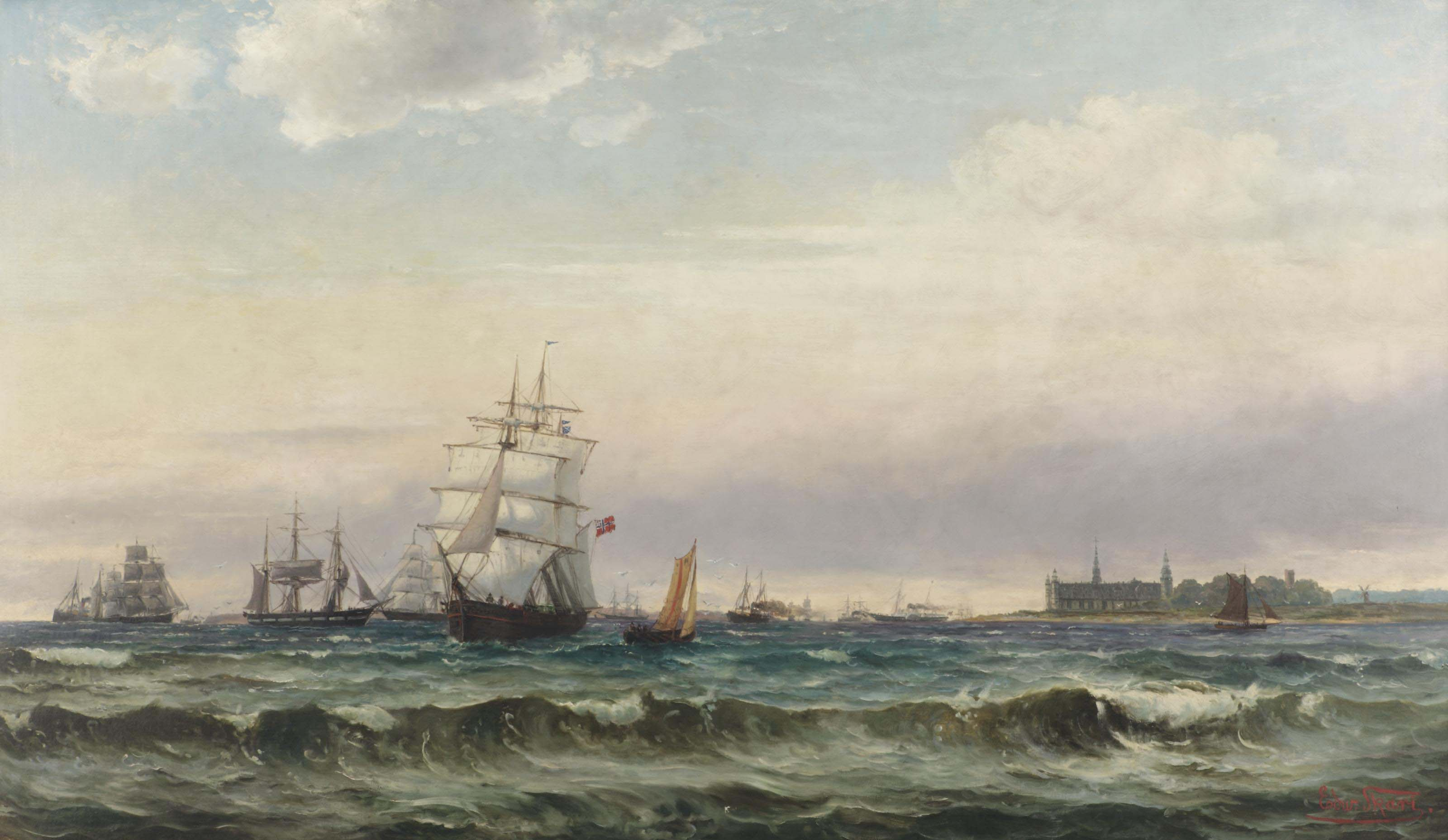 A view of the Øresund with Kronborg castle