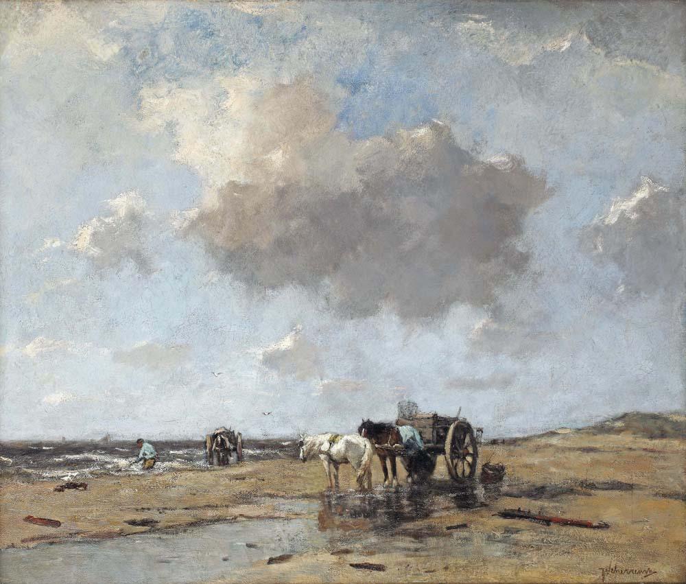Gathering driftwood near the shore, Katwijk