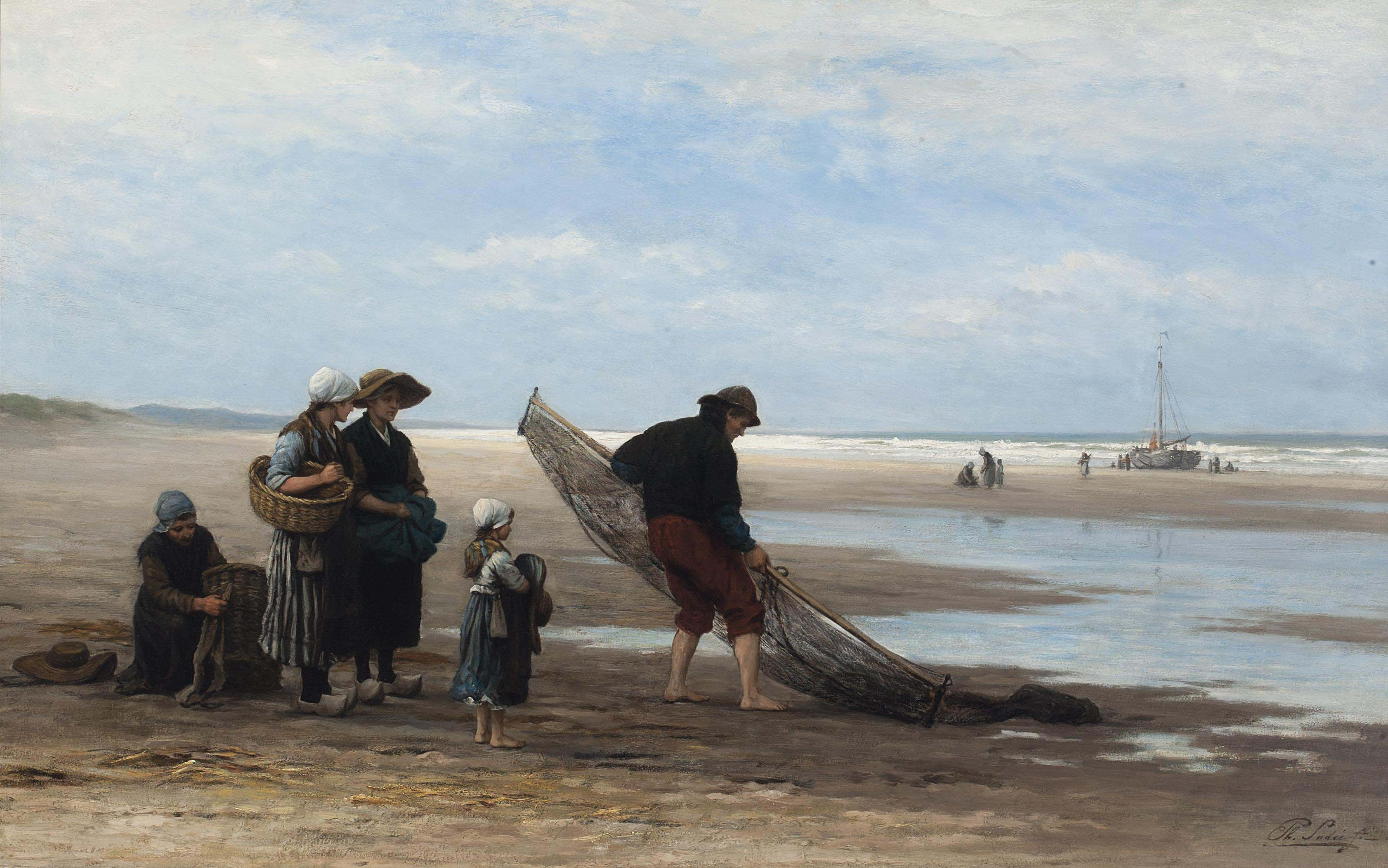 Shrimpers on the beach at low tide, Scheveningen