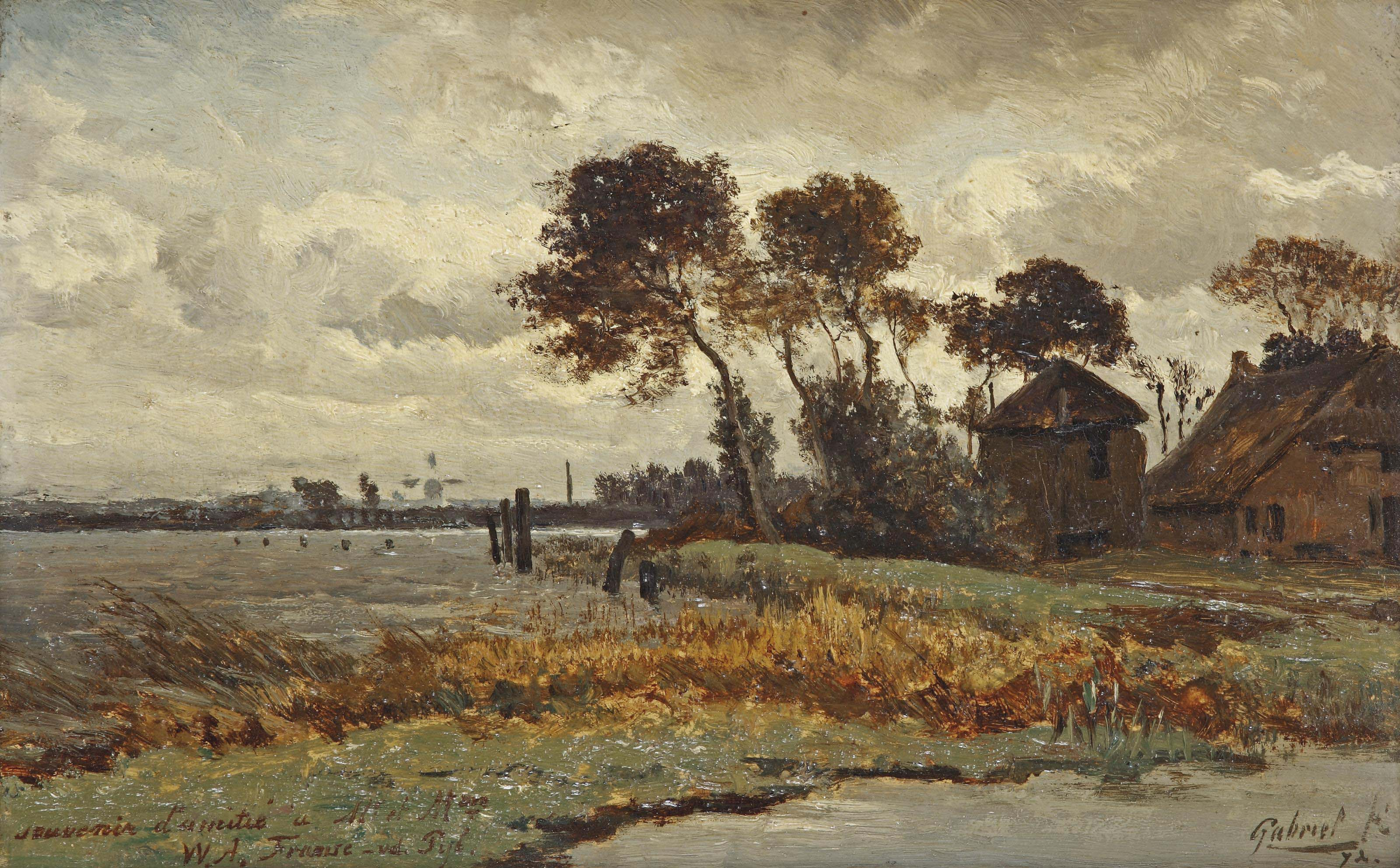 A farm along a waterway in autumn