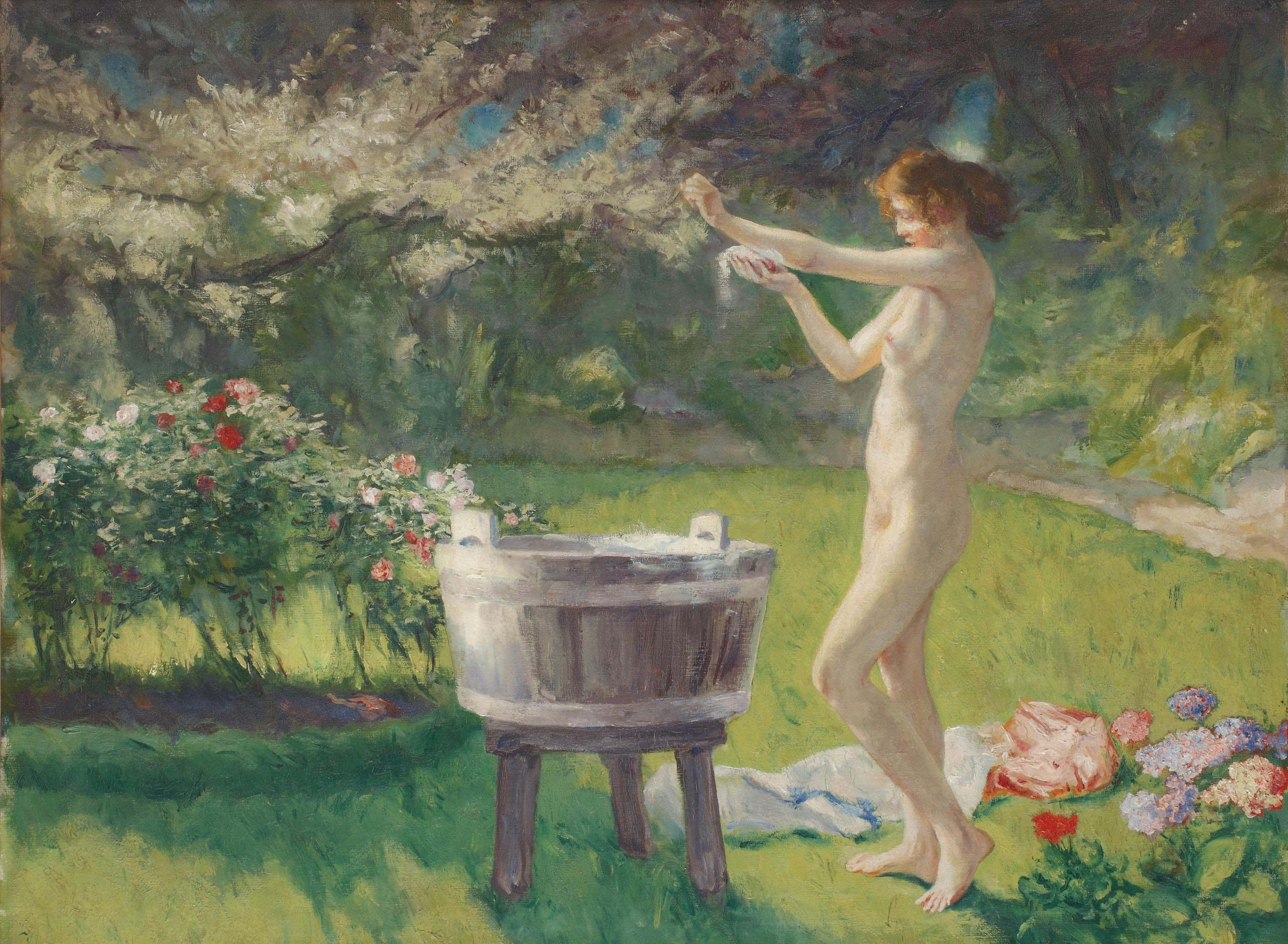 La toilette dans le jardin