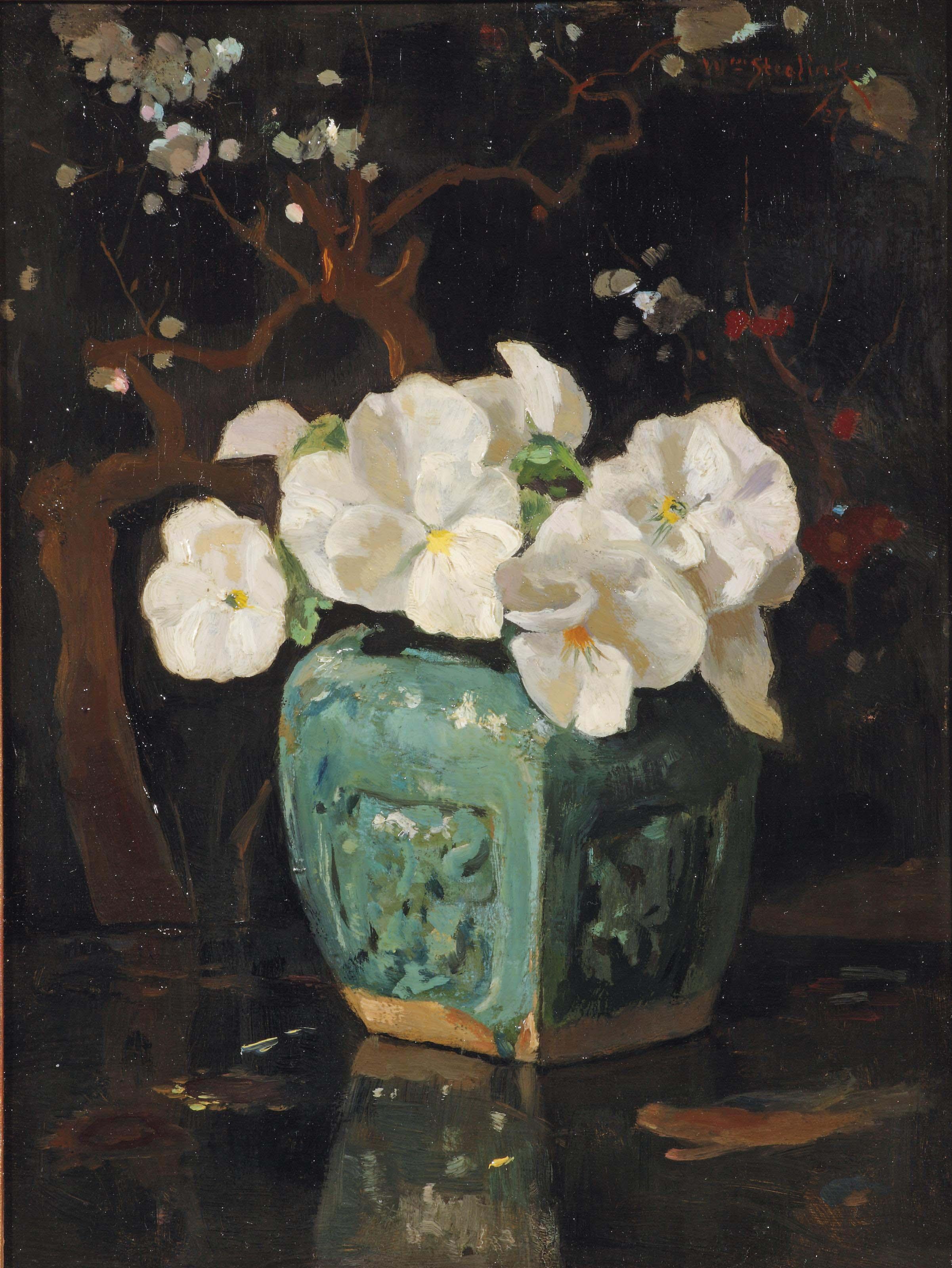 White violets in a ginger jar