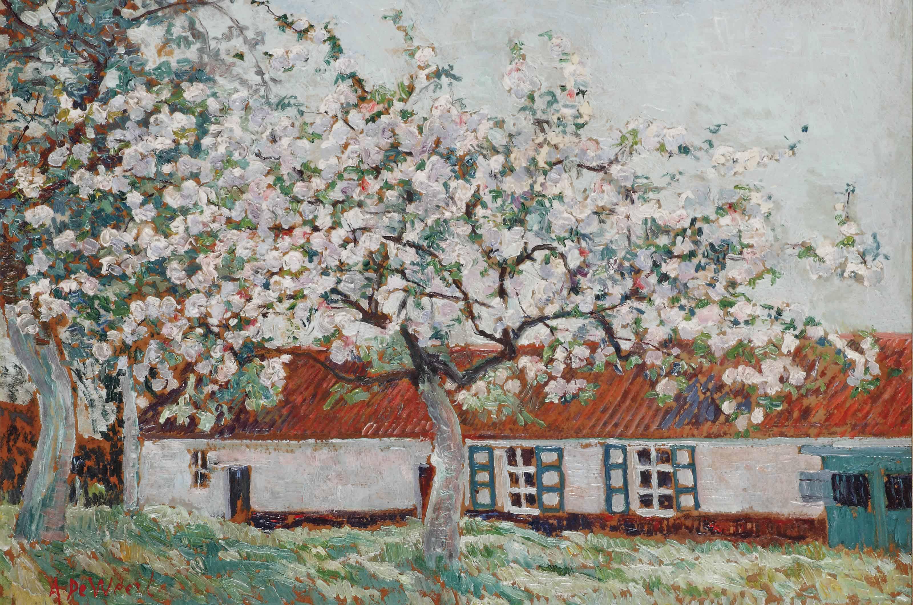 Blossoming tree near a farm