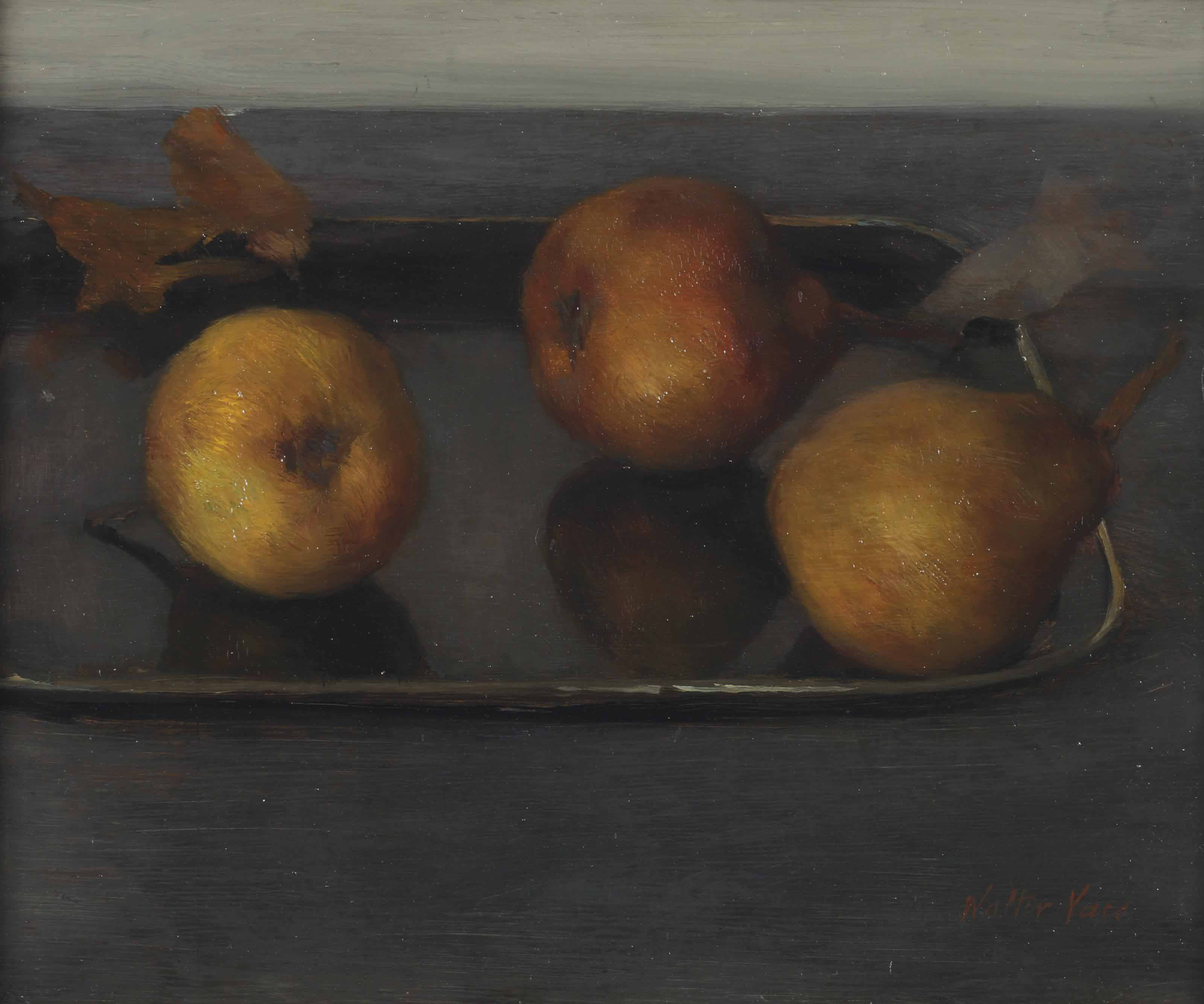 Pears on a tray
