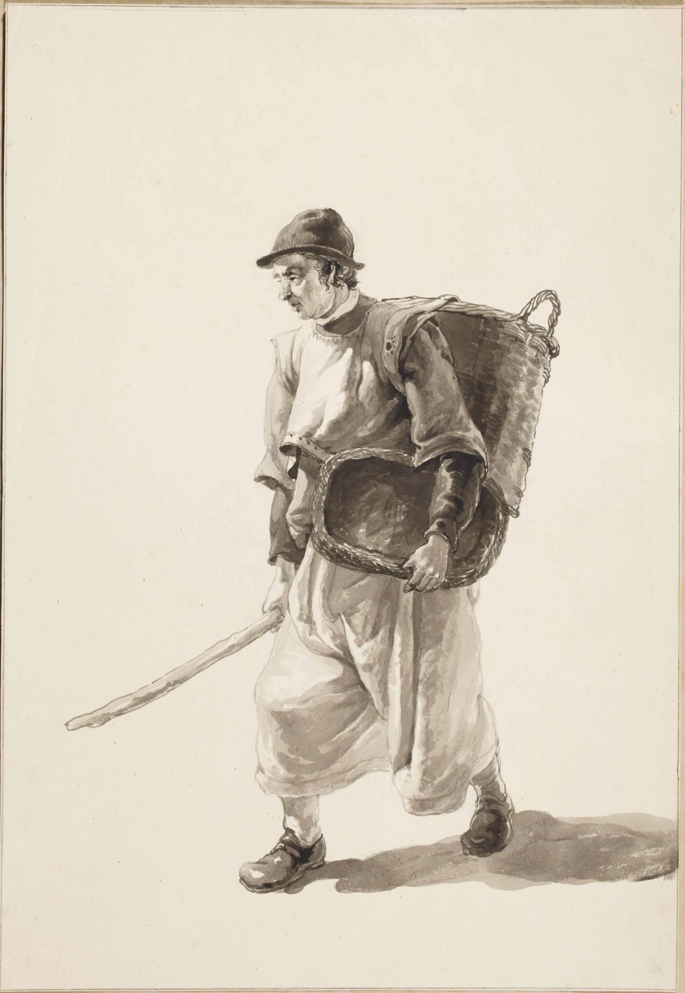 A fisherman carrying two baskets