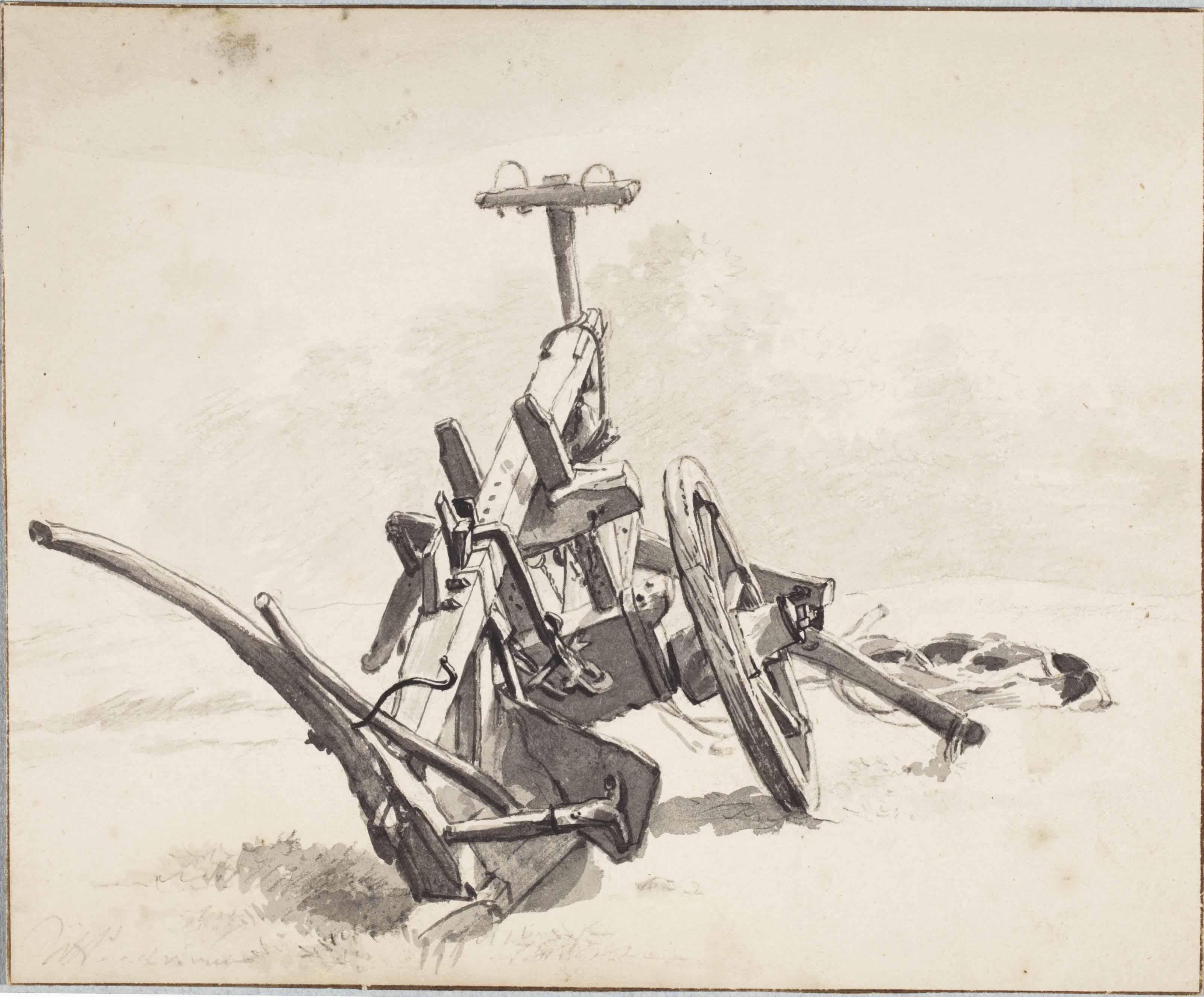 A plough (recto); A child in a cradle (verso)