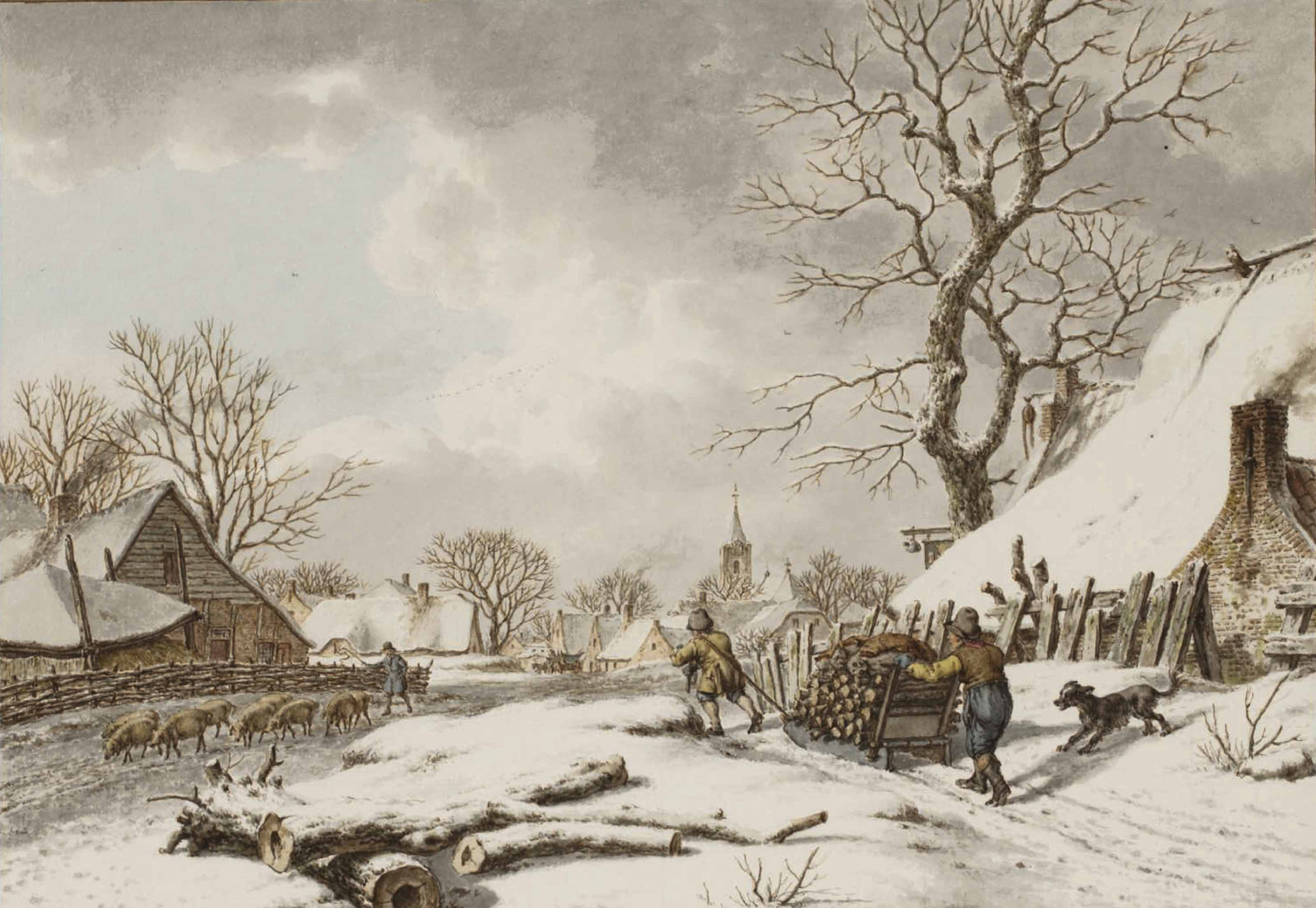 A winter landscape with two peasants pushing a sledge laden with logs, and a swineherd to the left