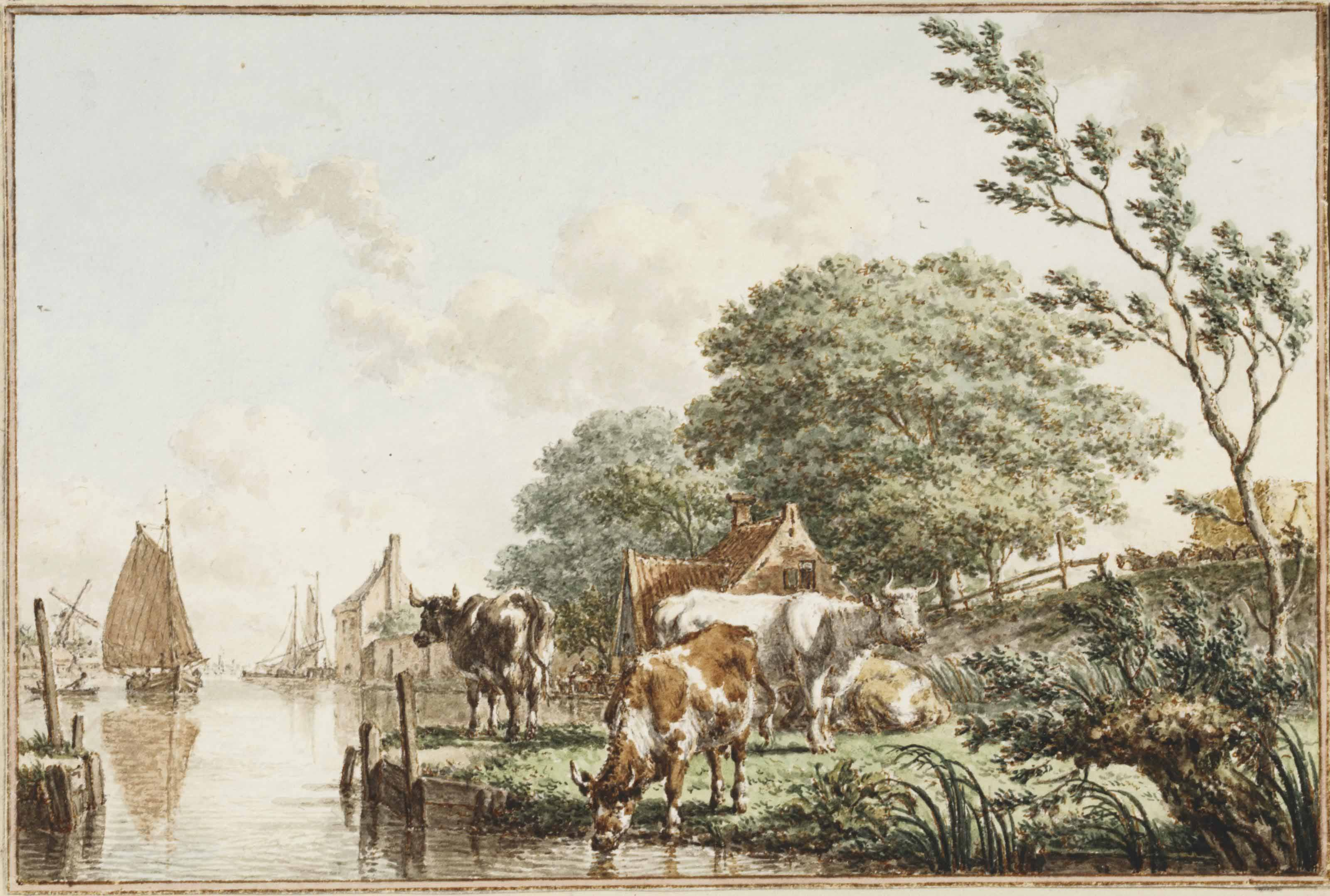 A summer landscape with cows beside a river, with a hay wagon to the right