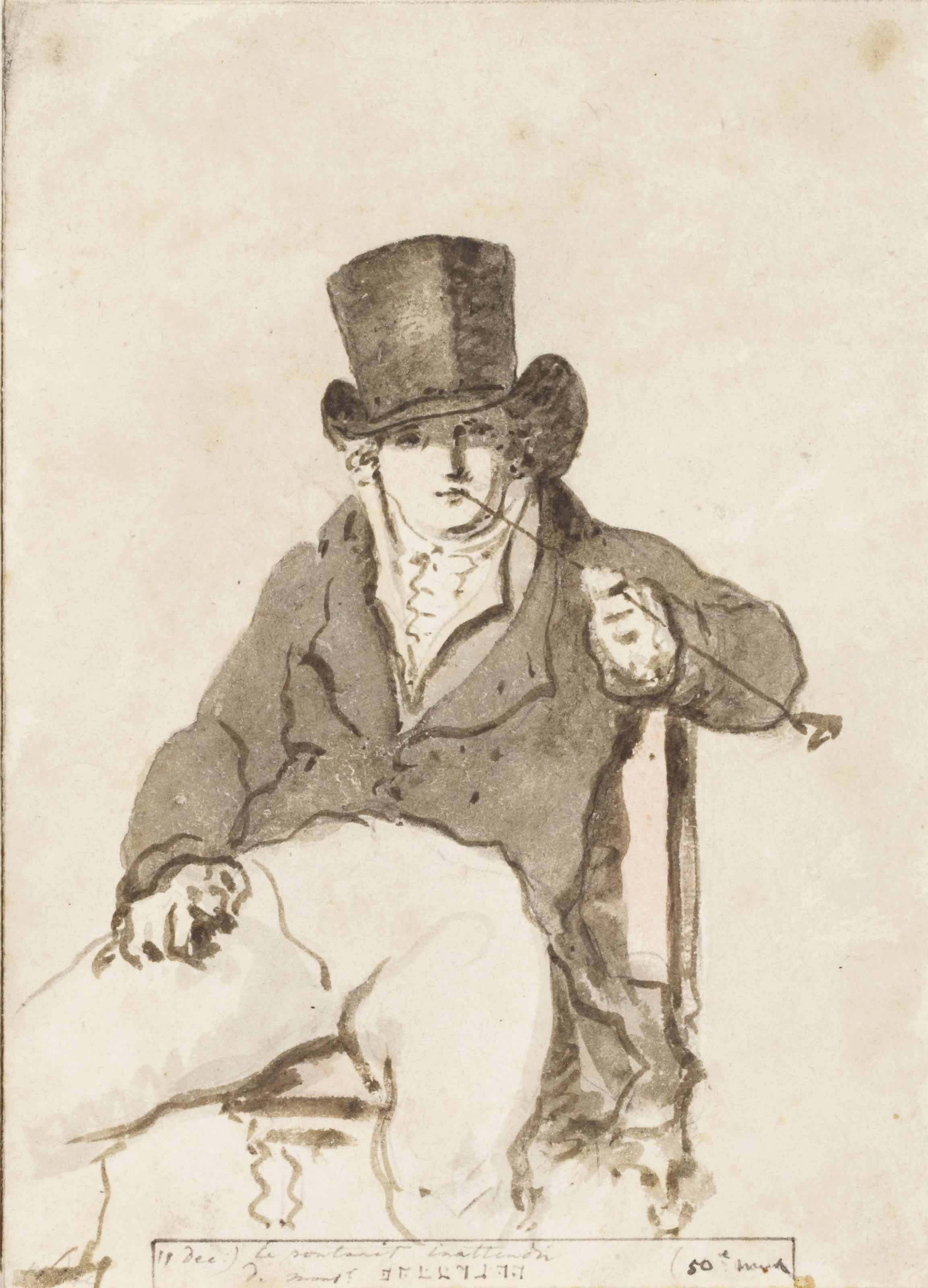 A page from the artist's illustrated diary: Portrait of Friedrich August Hoffman in a top hat, seated, smoking a pipe