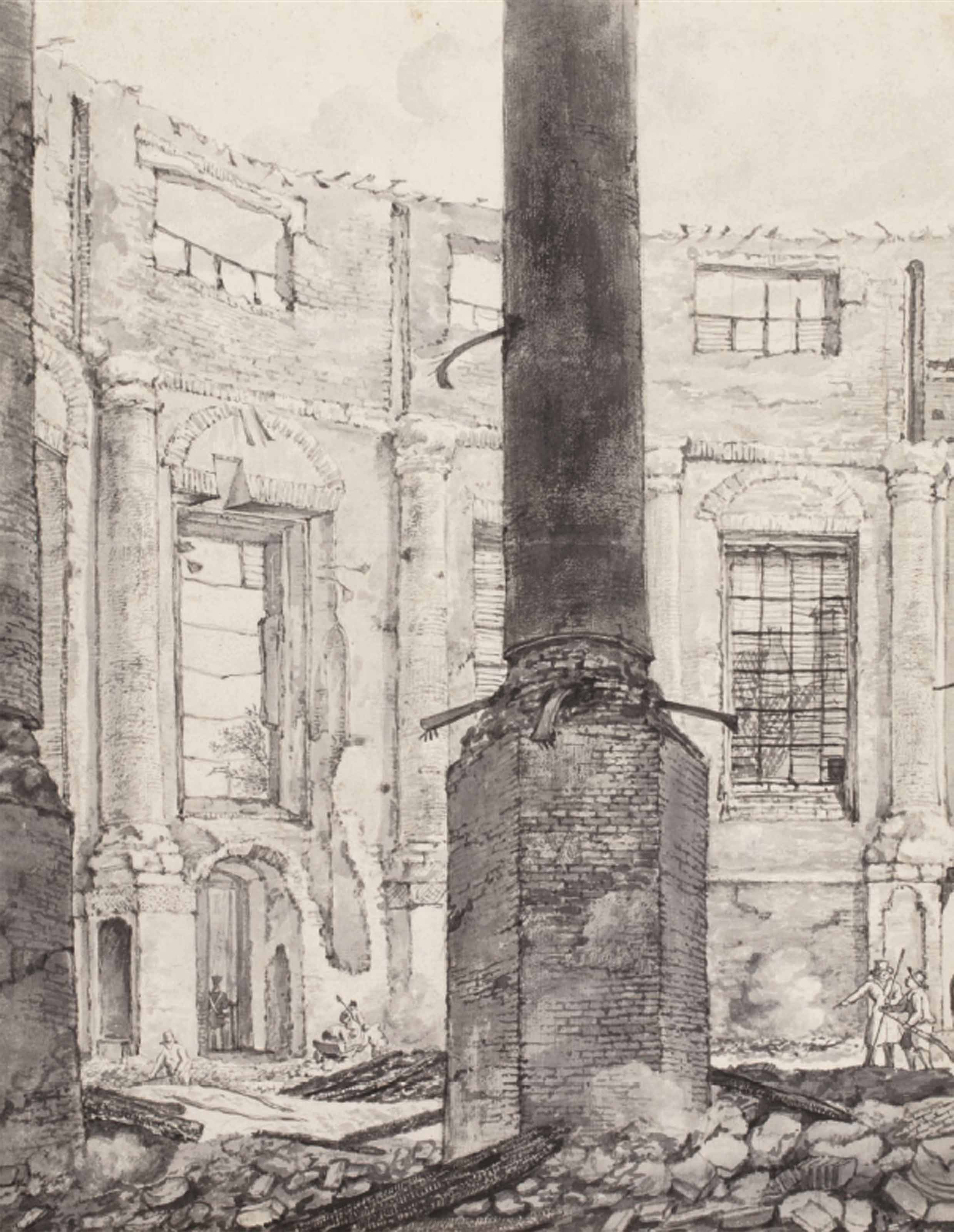 The ruins of the Lutheran Church, Amsterdam, after the fire of 1822, looking towards the organ-loft