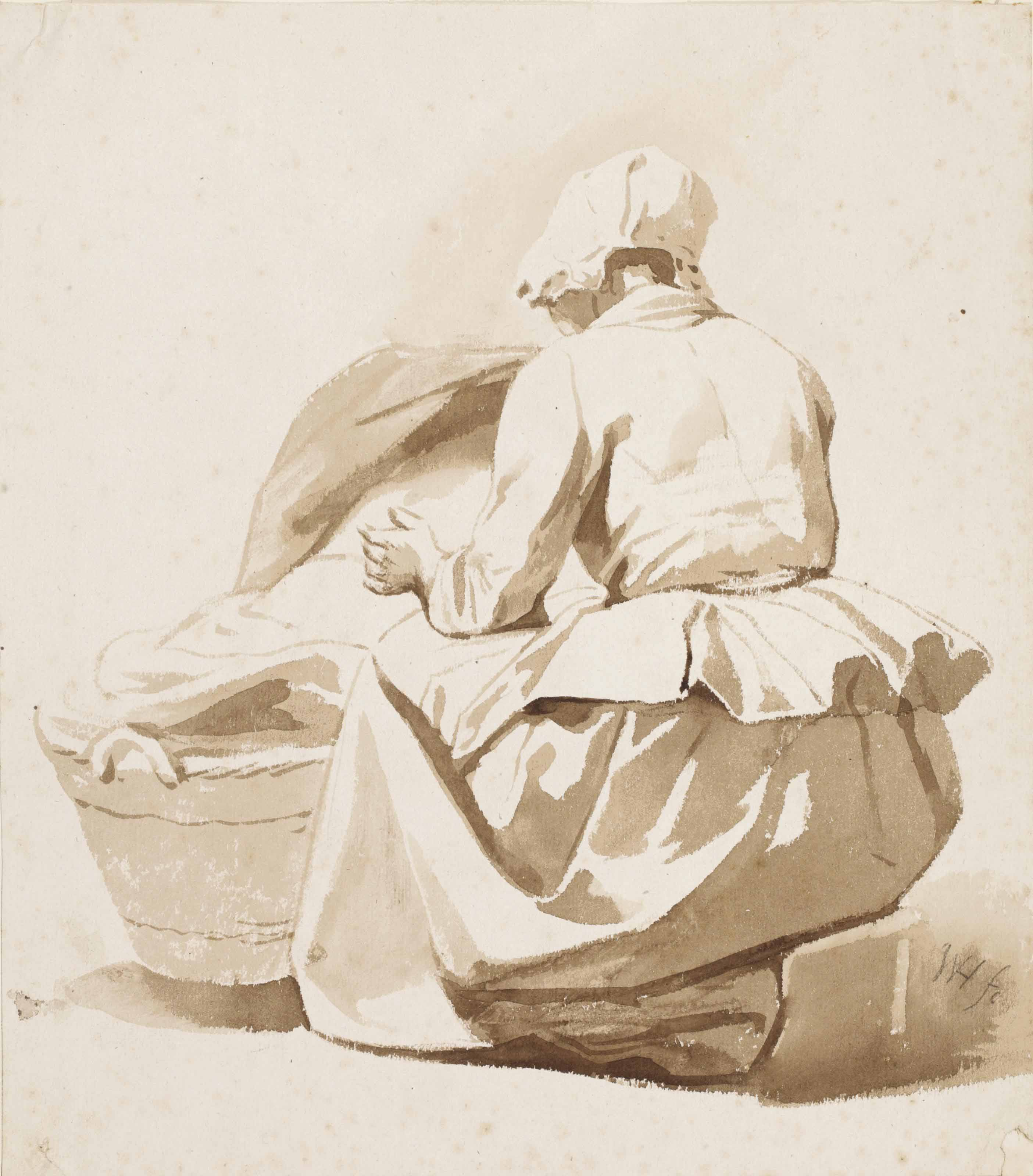 A woman beside a cradle
