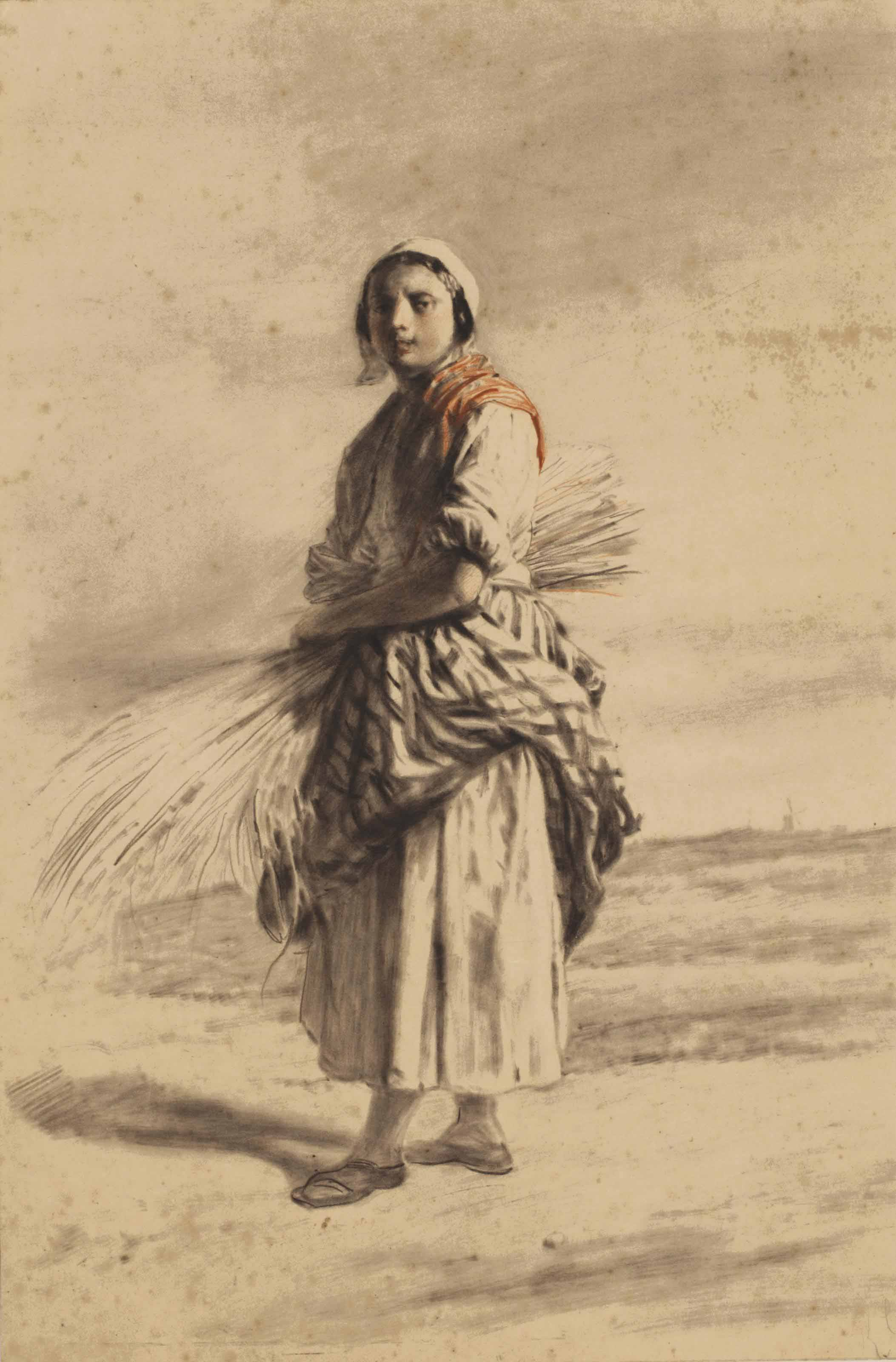A farmer's wife with a sheaf of corn on a path