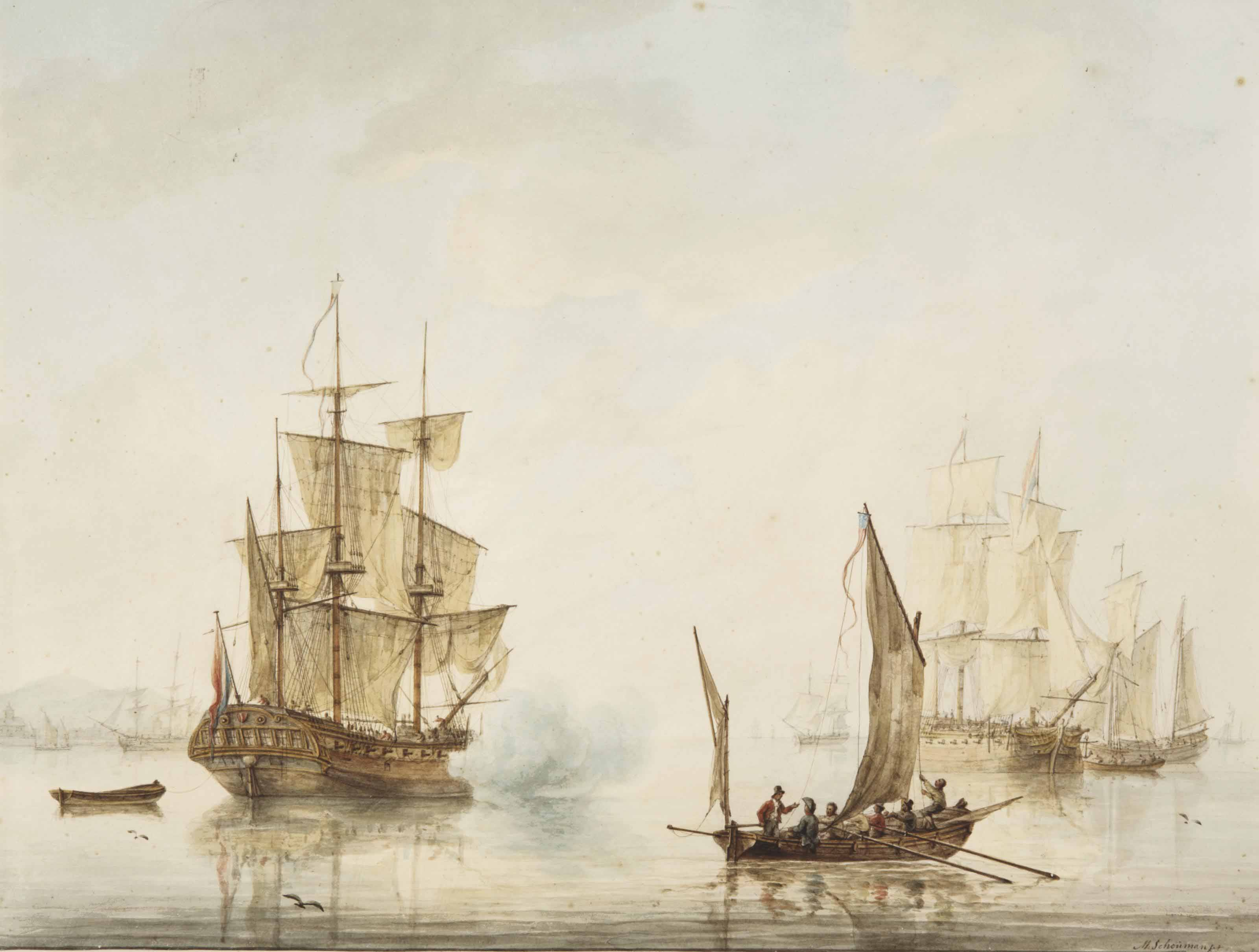 Ships at anchor in an estuary, one firing a salute, an American sloop nearby