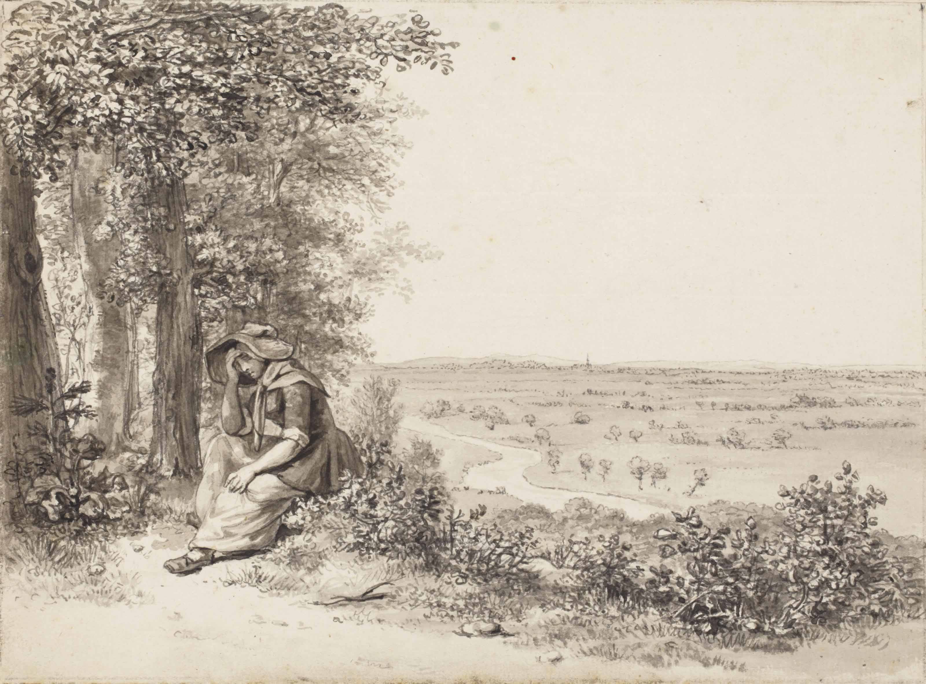 A woman resting on the Grebbeberg near Rhenen, overlooking the river Grebbe and the Betuwe