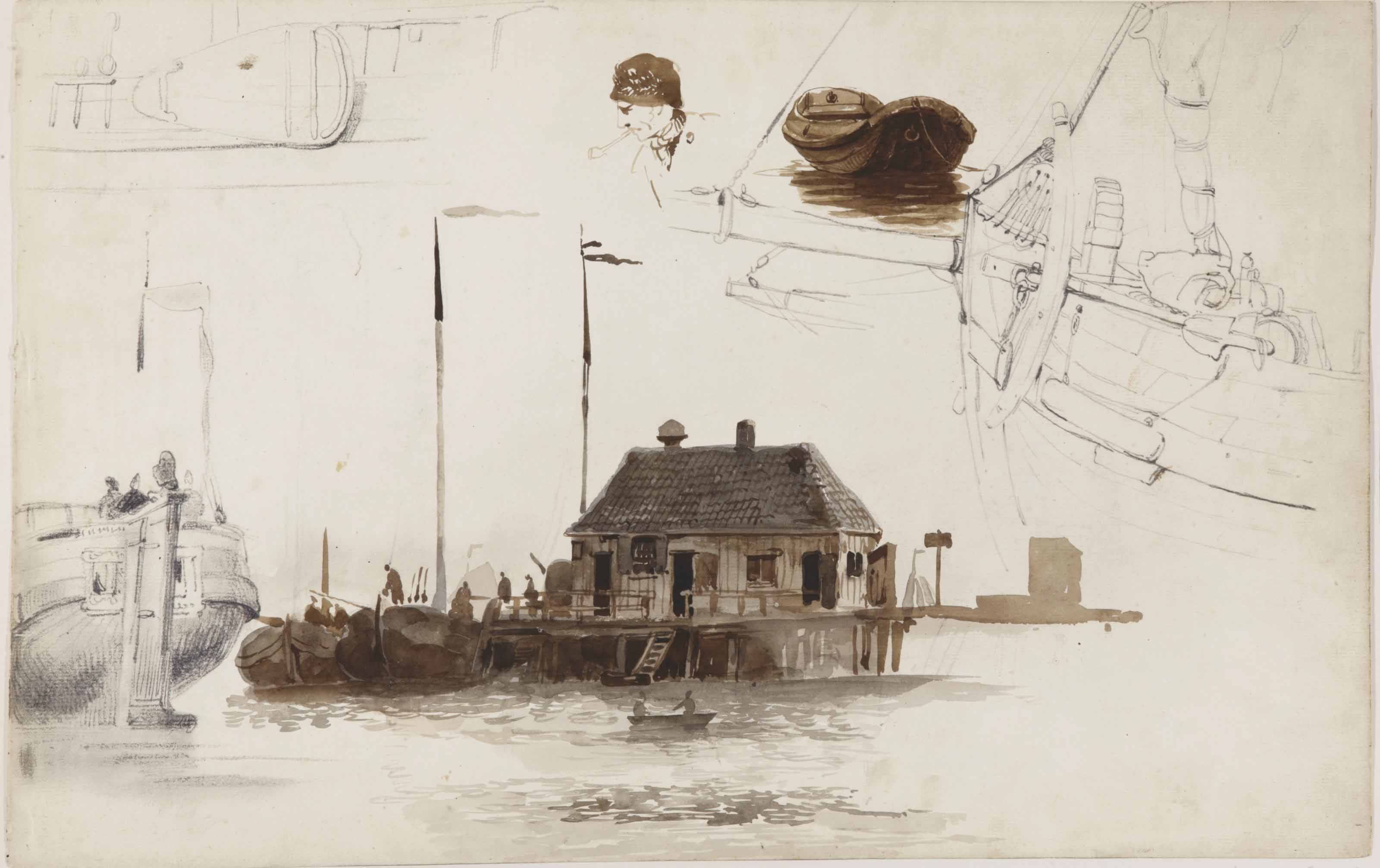 A sheet of studies, with a jetty and a tree house (Boomhuisje) on the IJ, Amsterdam