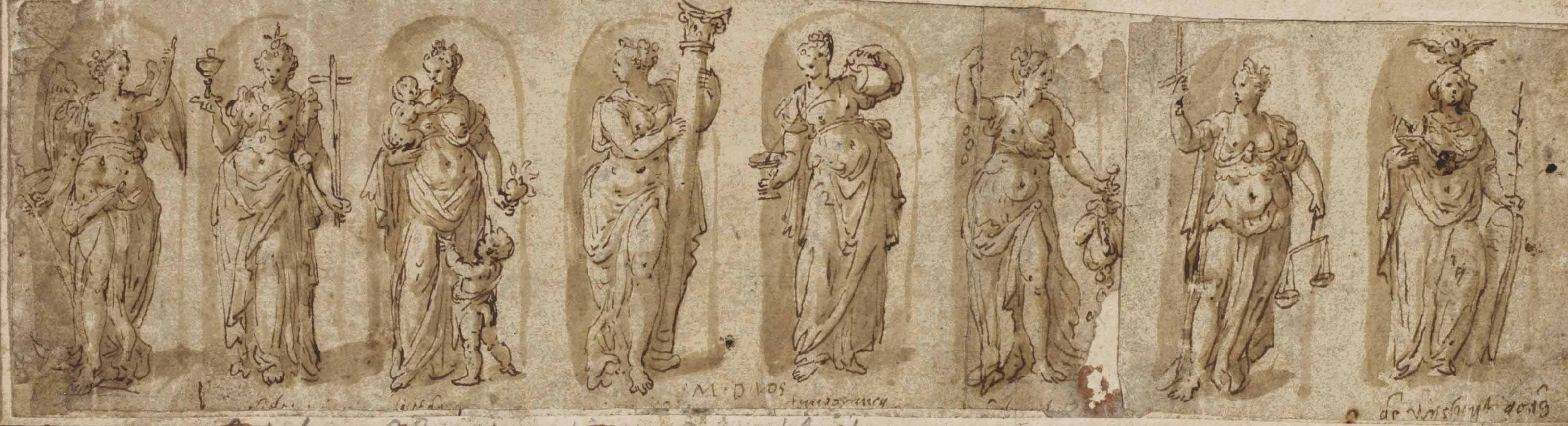 The Theological and Cardinal Virtues with Wisdom: Hope, Faith, Charity, Fortitude, Temperance, Liberality, Justice and Sapientia