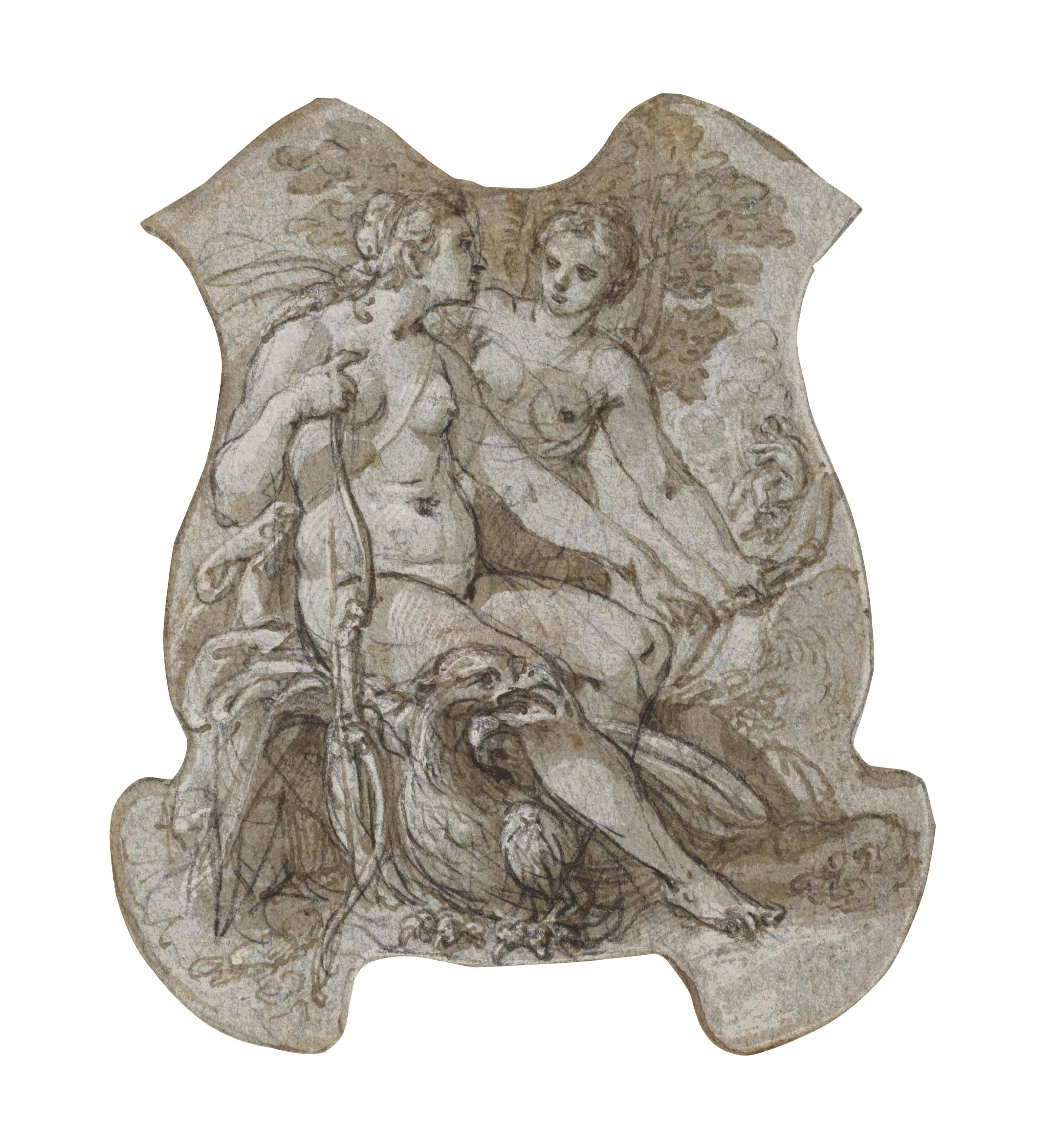 Jupiter seducing Callisto in the guise of Diana, probably a design for silverware