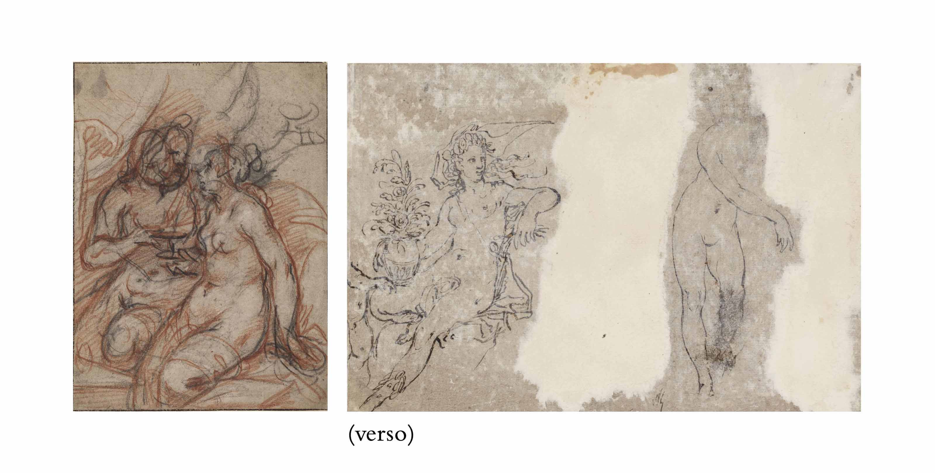 Mars and Venus (recto); Two female nudes, with Cupid and a vase (verso)