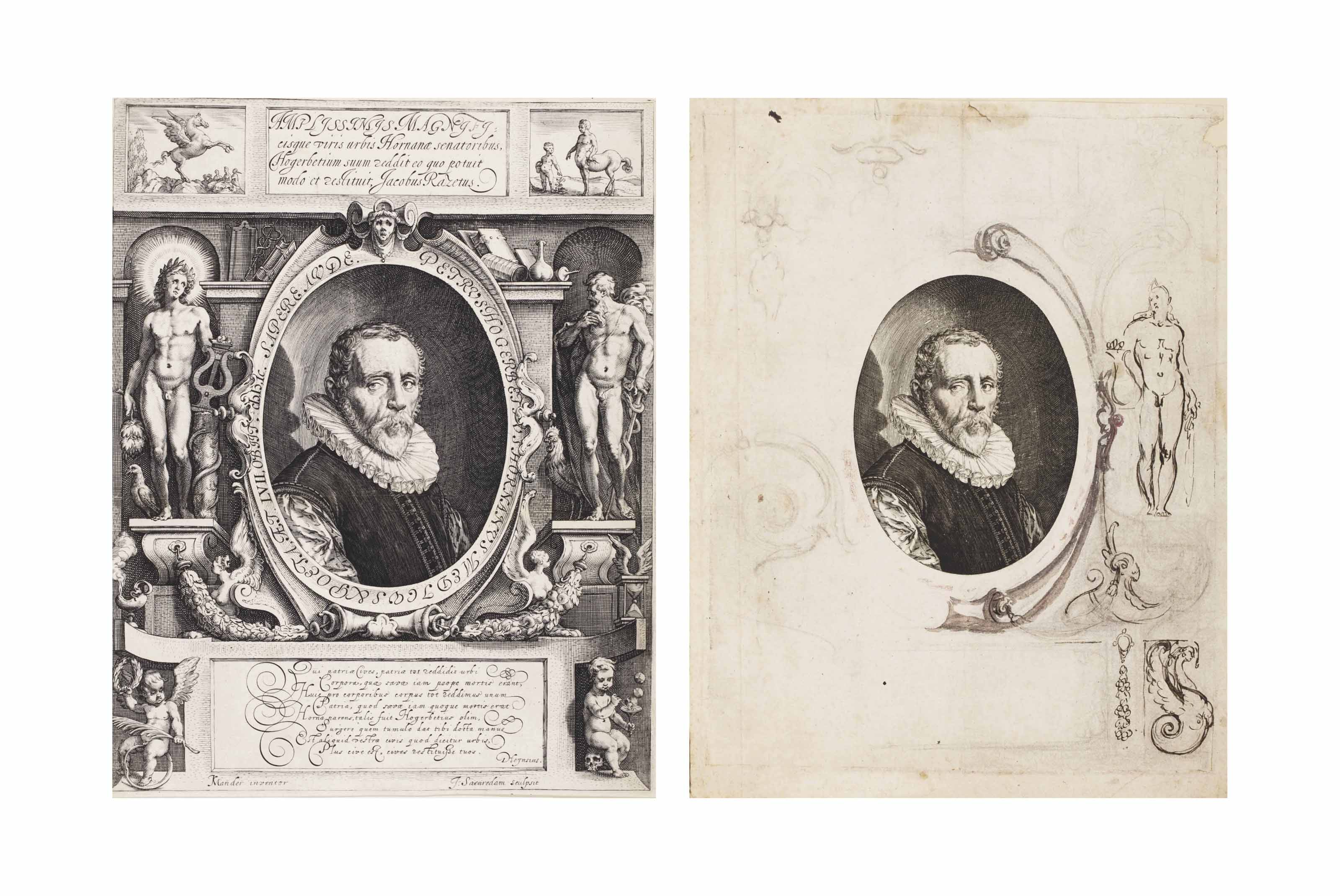 A proof impression of the engraved portrait of Pieter Hogerbeets by Jan Saenredam, with the design for part of the decorative surround at the right of the sheet