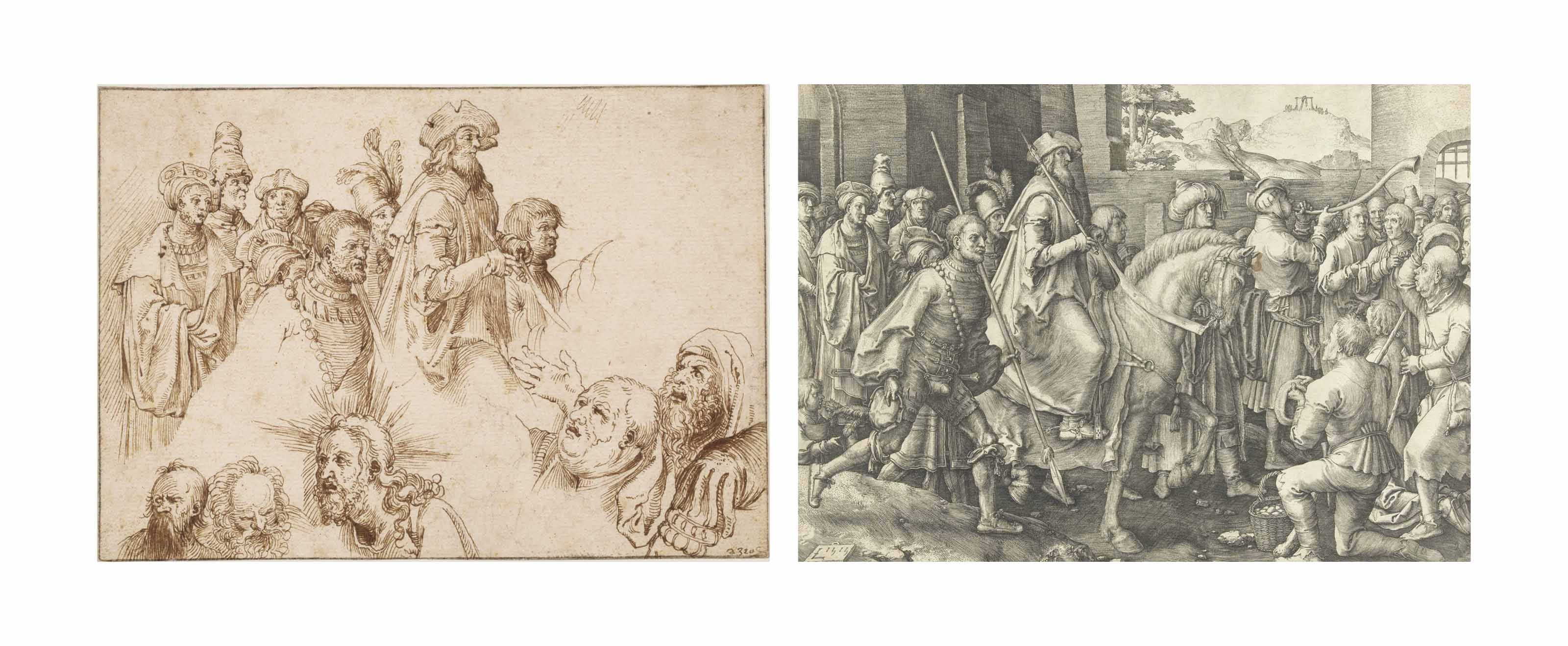 A sheet with studies after engravings by Lucas van Leyden and Albrecht Dürer