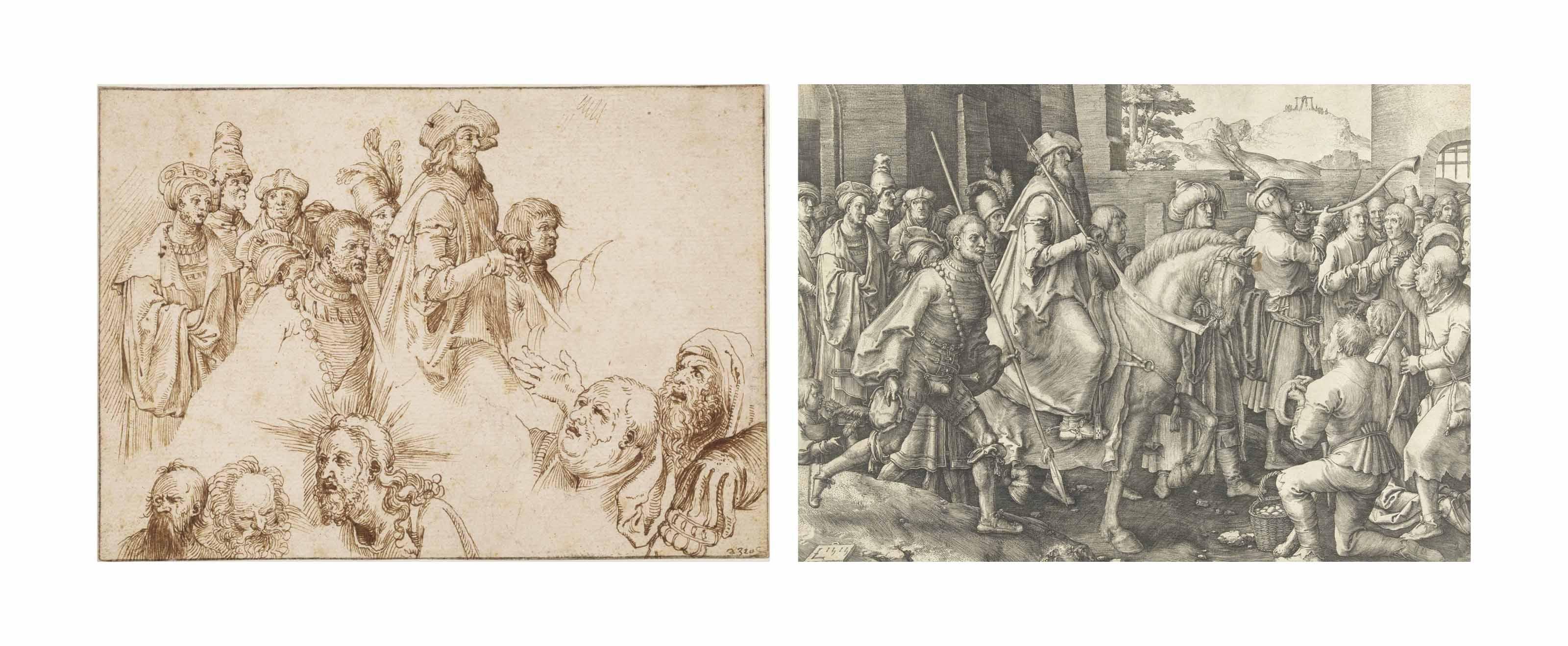 A sheet with studies after engravings by Lucas van Leyden and Albrecht Dürer