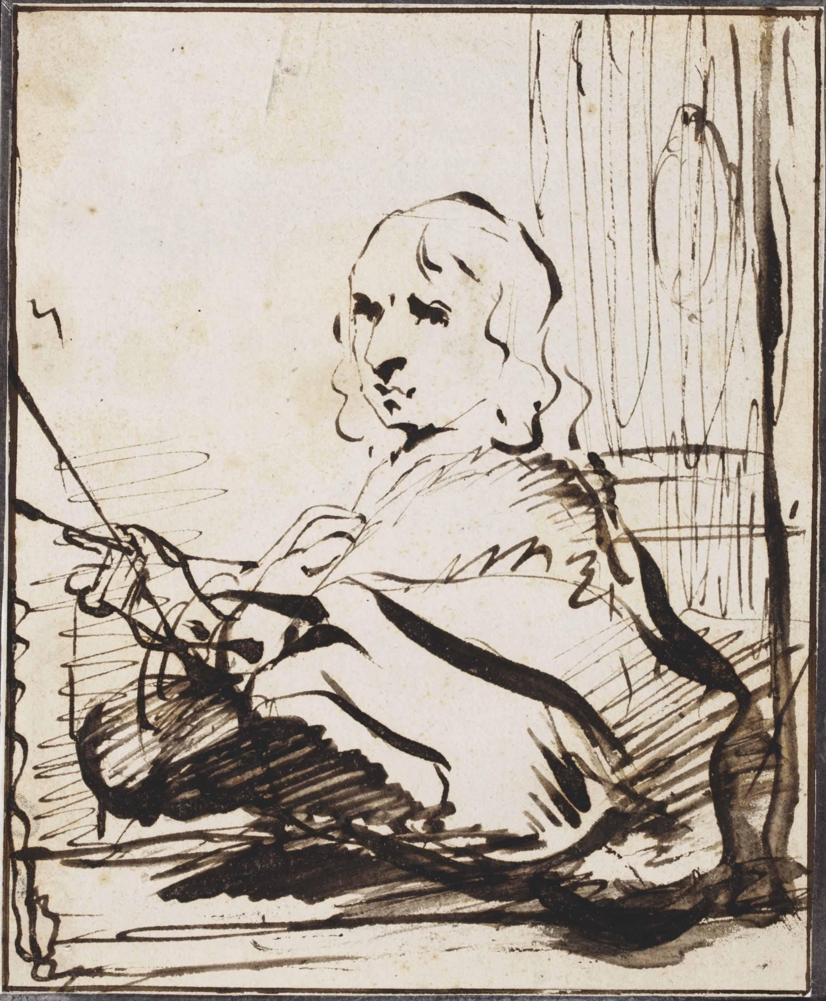 Portrait of a painter, perhaps a self portrait (recto); A Biblical scene (verso)