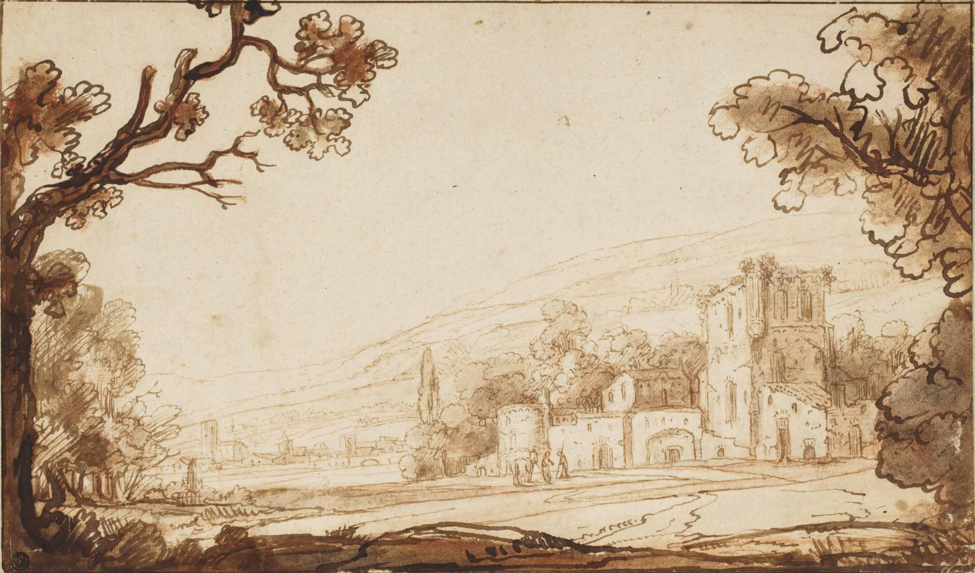 A hilly landscape with figures approaching a castle (recto); Two studies of a woman with a child (verso)