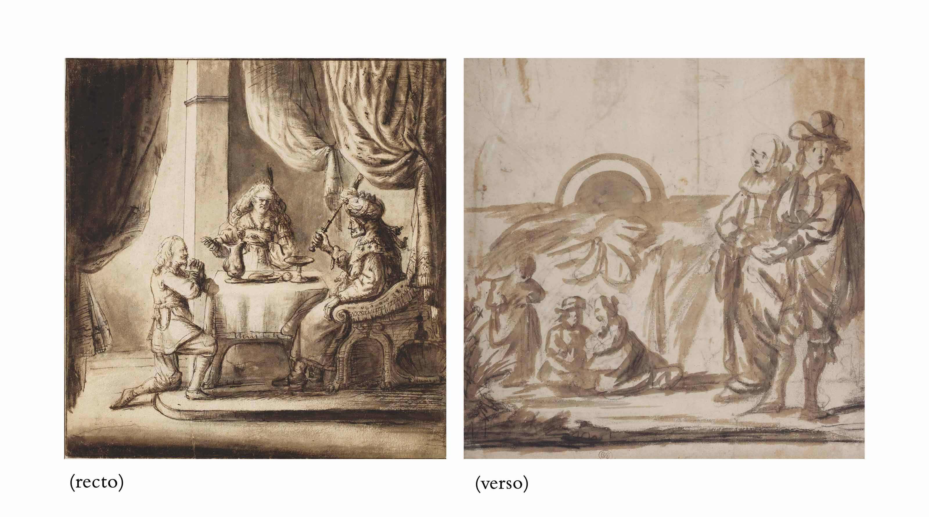 The Feast of Esther (recto); Portrait of a family on a terrace (verso)