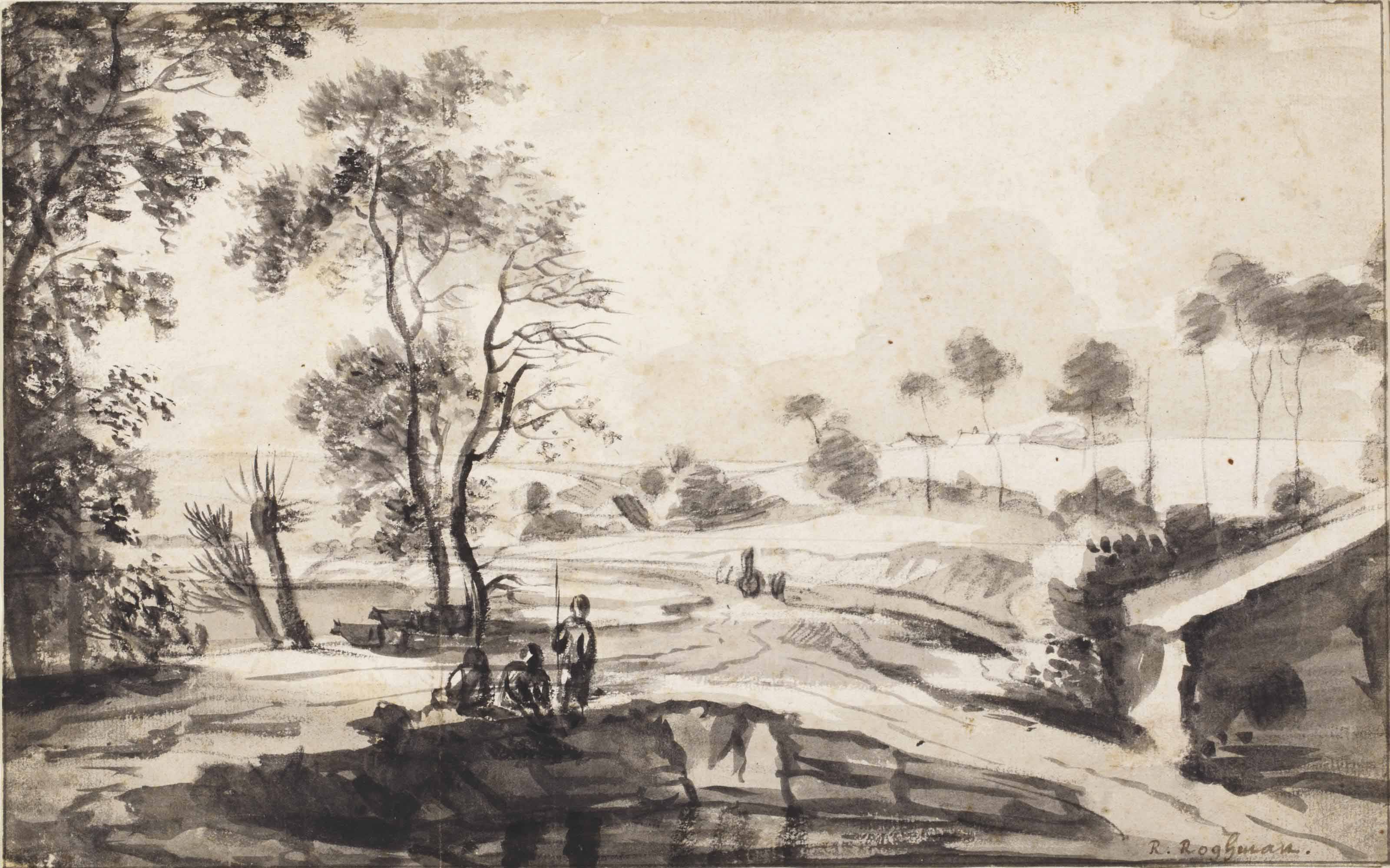 A wooded river landscape with fishermen